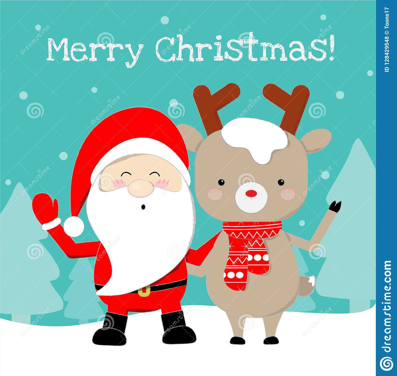 Cute Santa Claus And Reindeer Cartoon Lovely Christmas Background ...