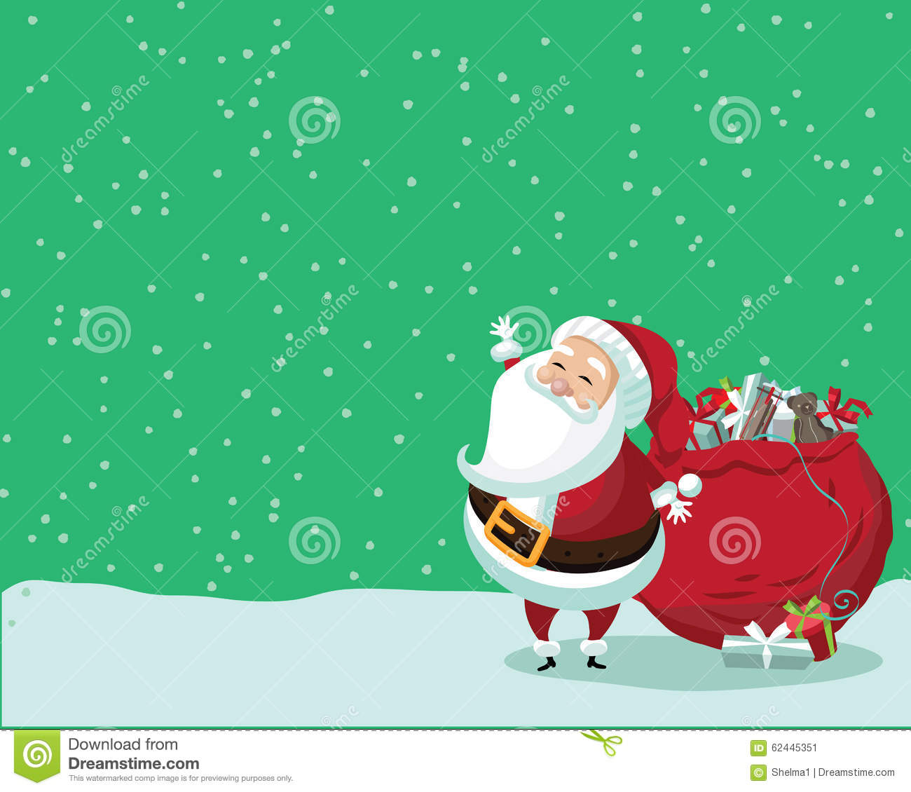 cute santa claus standing in the snow with a bag of gifts stock vector