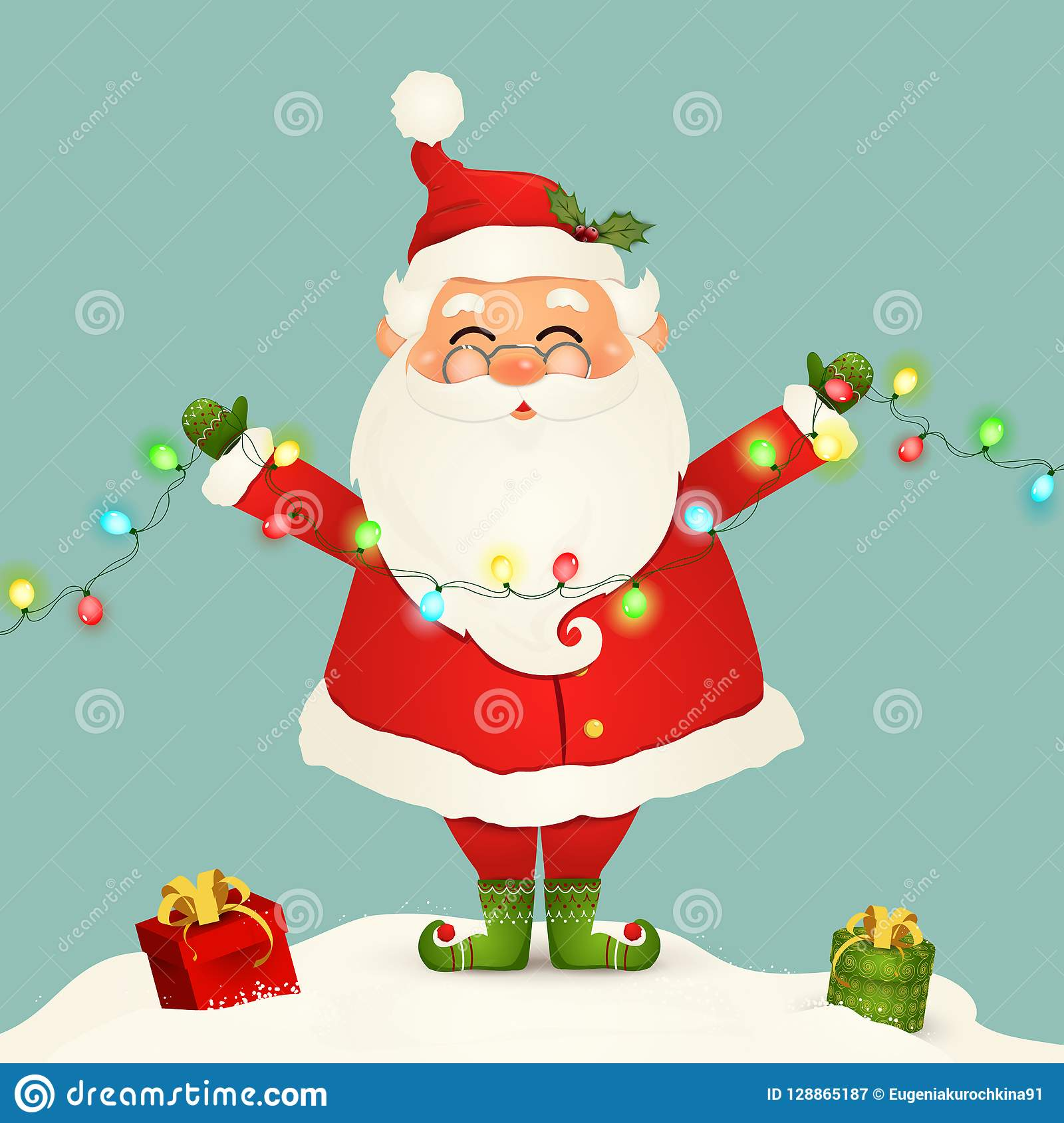 Cute Santa Claus Standing In Snow Holding Christmas Lights