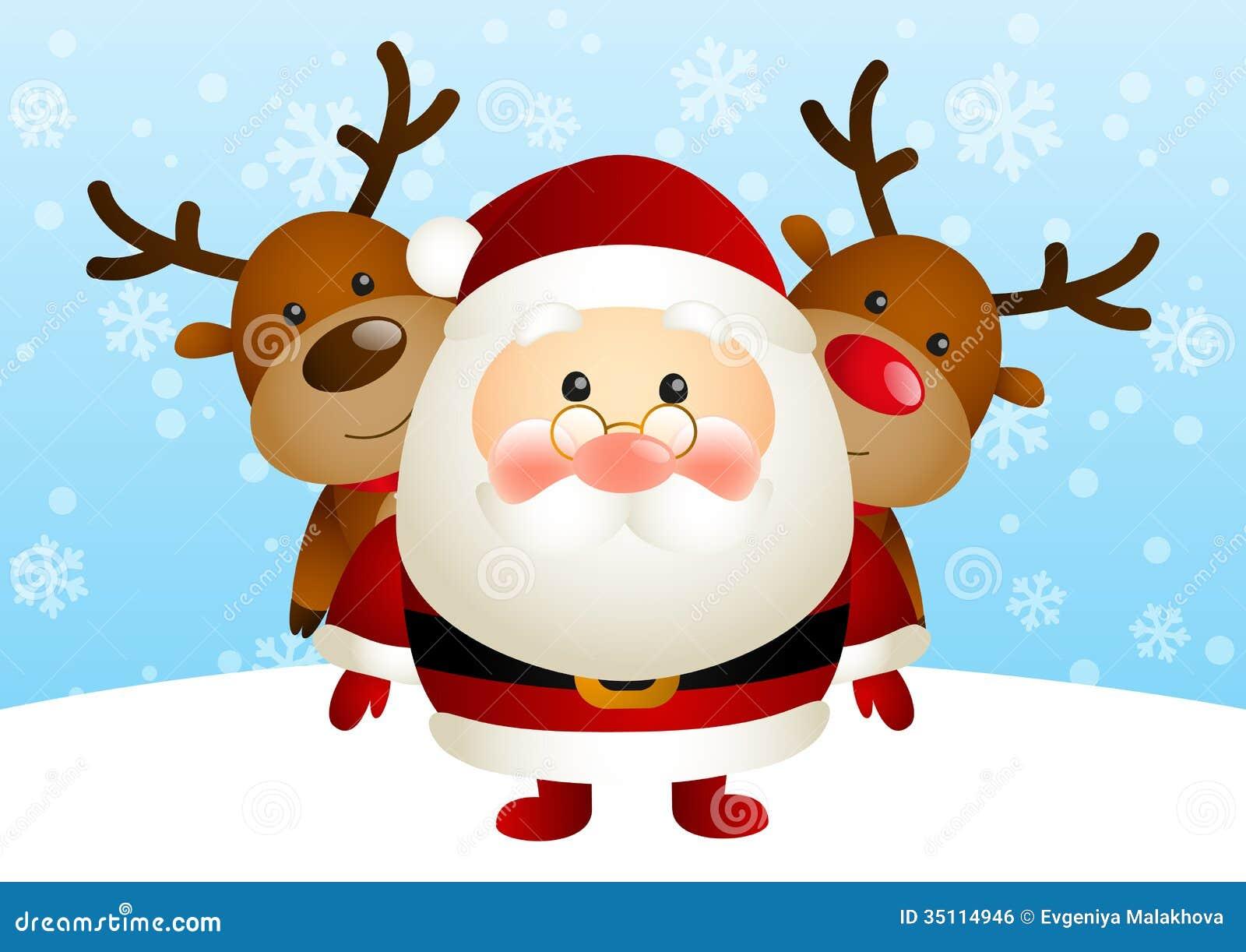Cute Santa With Deers Royalty Free Stock Image Image 35114946