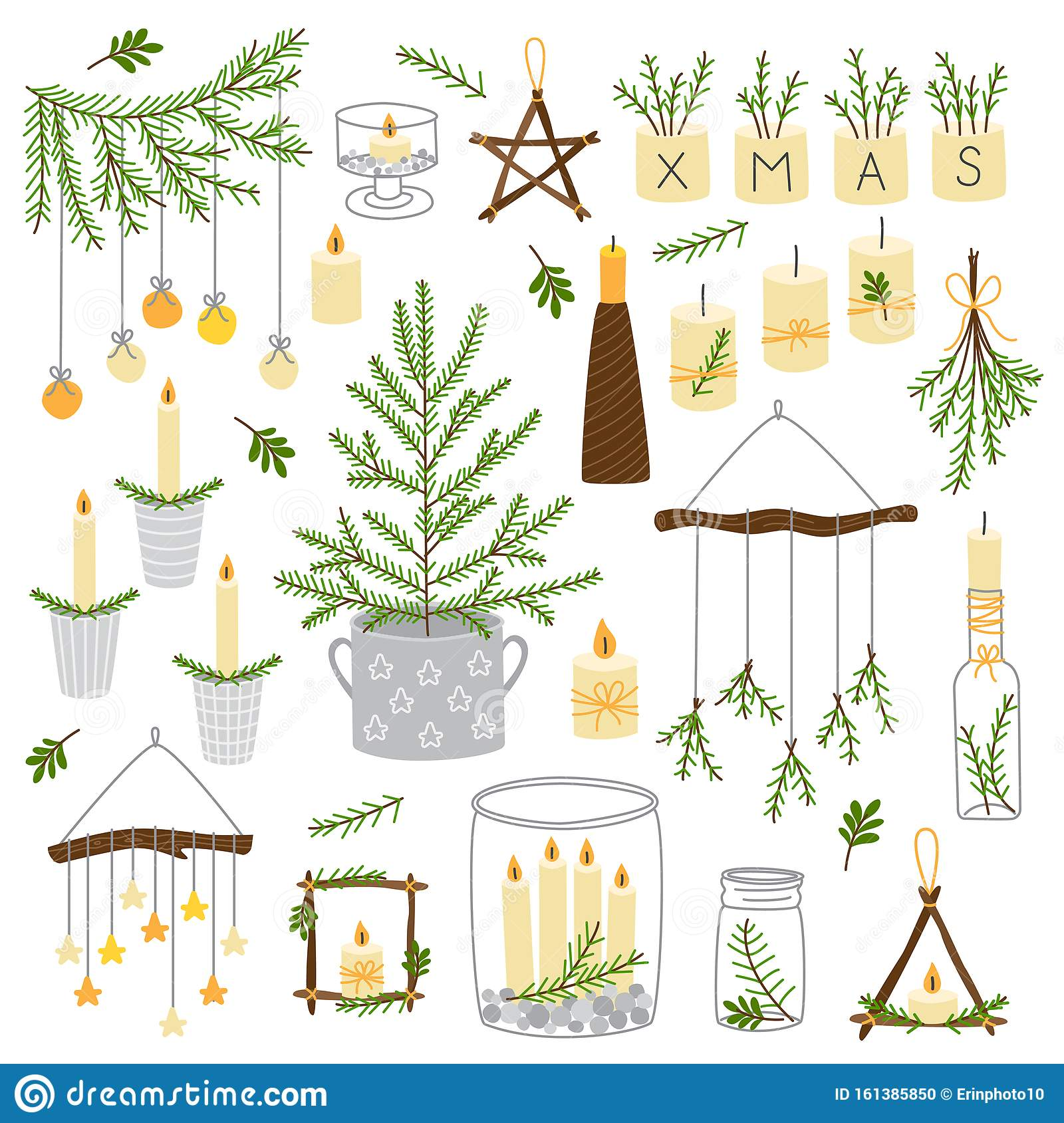 Cute Scandinavian Set Of Vintage Christmas Decorative Elements As Wooden Star Christmas Tree Candles Mason Jars Stock Vector Illustration Of Background Decorative 161385850