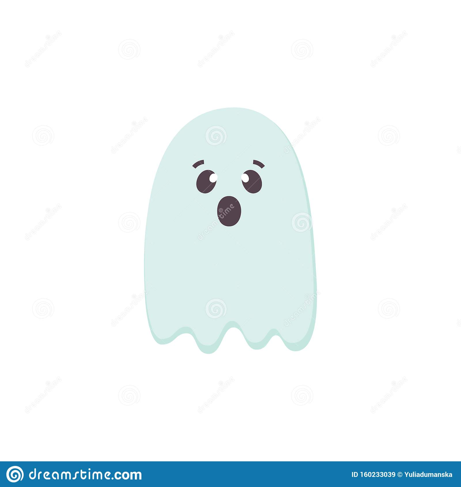Cute Scared Halloween Ghost Icon. Blue Color Cartoon ...