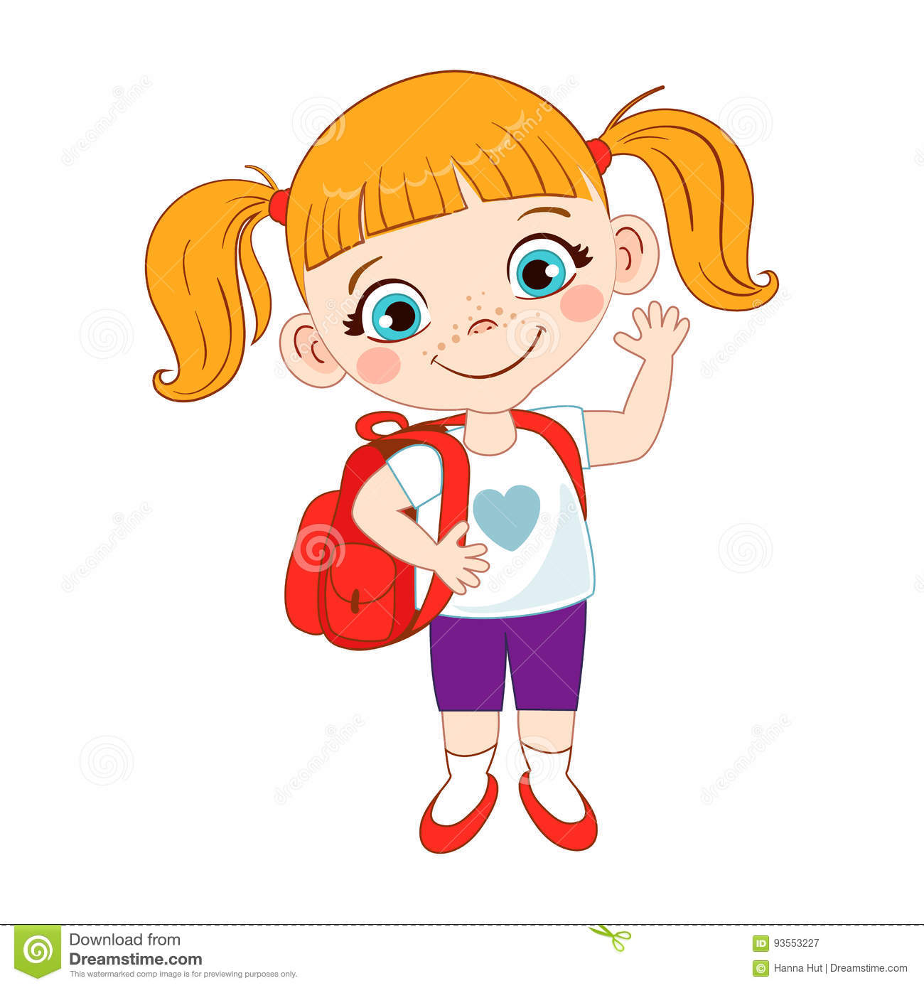Cute School Girl With A Backpack. Stock Vector - Illustration of ... 267c7f3d0c0bb