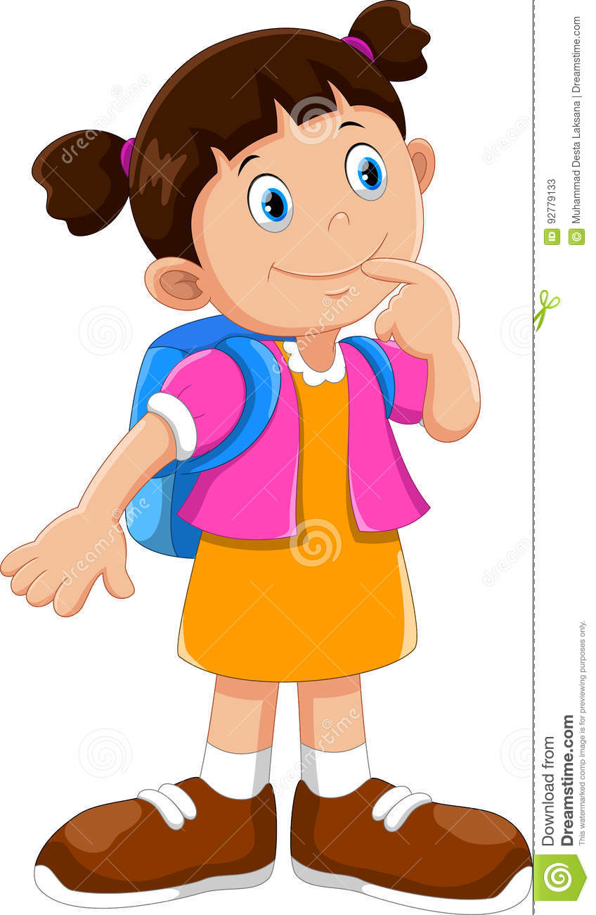 Cute School Girl Cartoon With Backpack Stock Illustration ... 069143cad5bfd