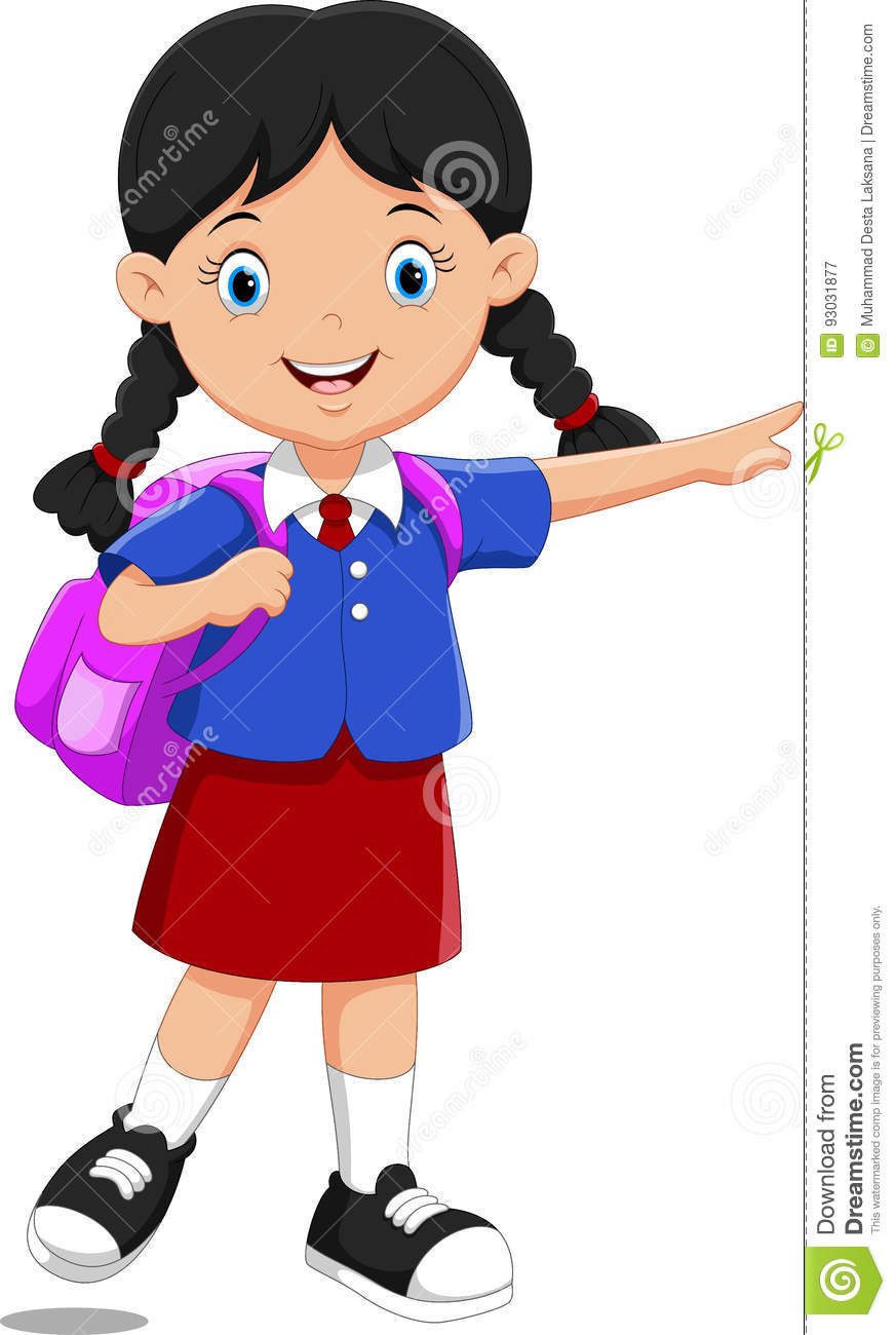 Vector illustration of cute school girl cartoon with backpack isolated on  white background. More similar stock illustrations 79c520144ff54