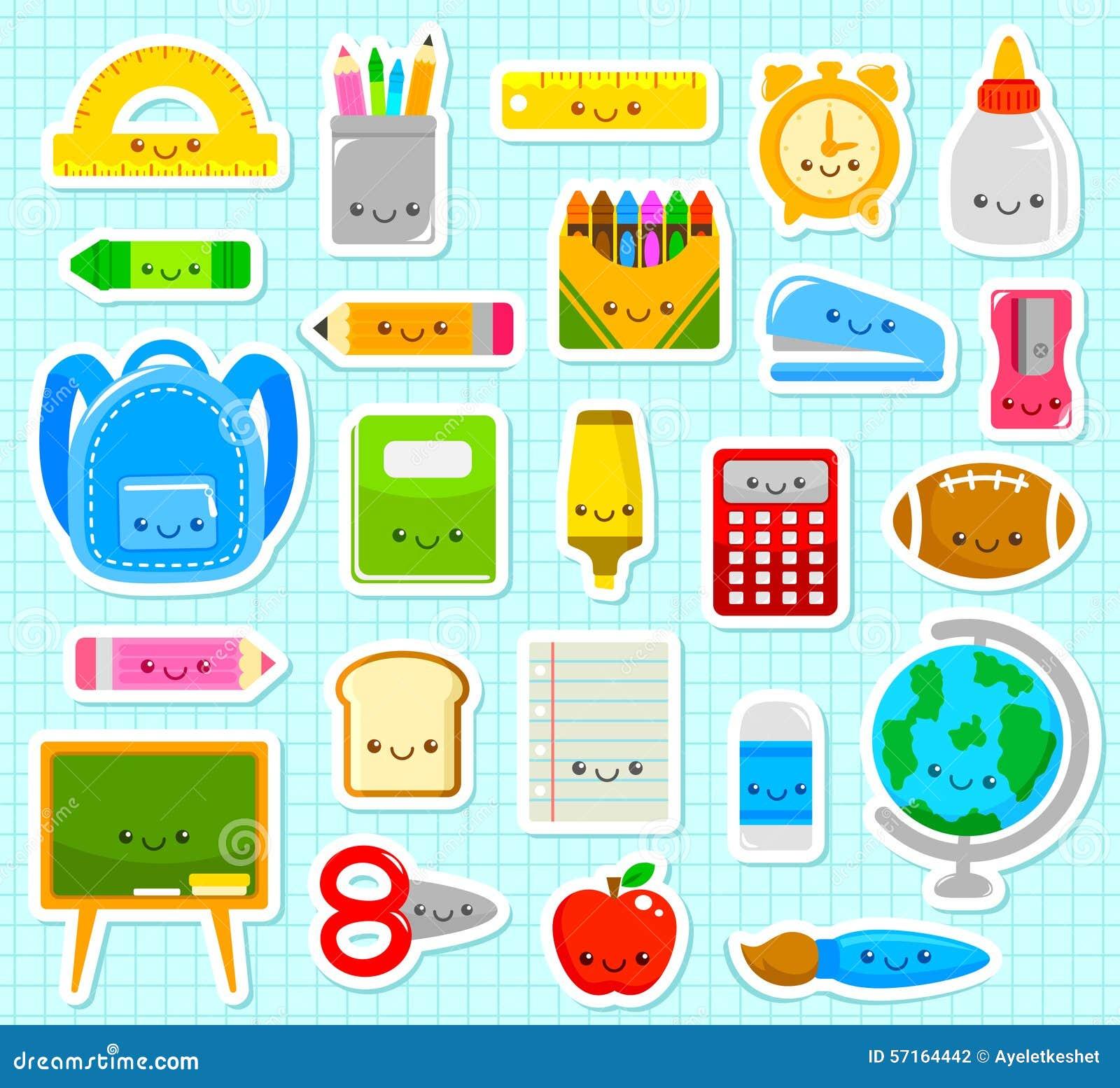 Cute school items stock vector. Illustration of blackboard ...