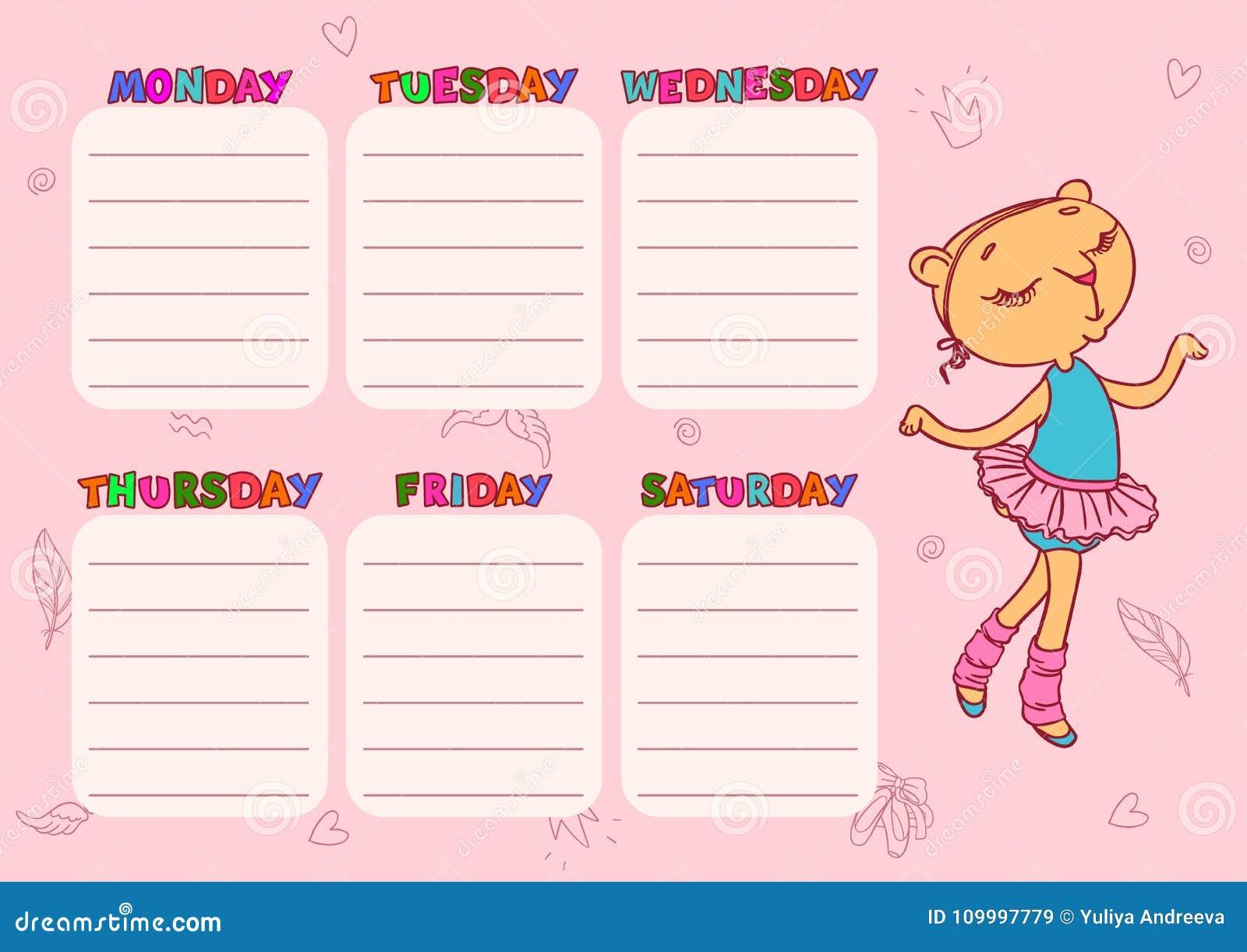 cute school schedule template with cat girl vector printable