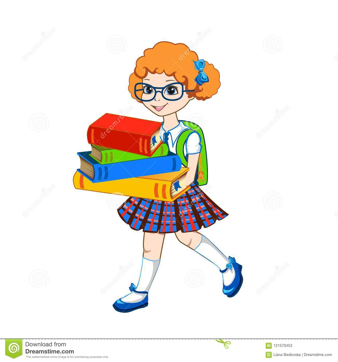 Cute Schoolgirl With Color Books Stock Vector - Illustration of ...