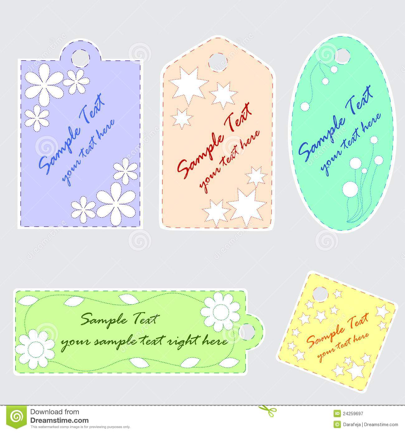 Cute Scrapbook Tags Stock Vector Illustration Of Flower 24259697