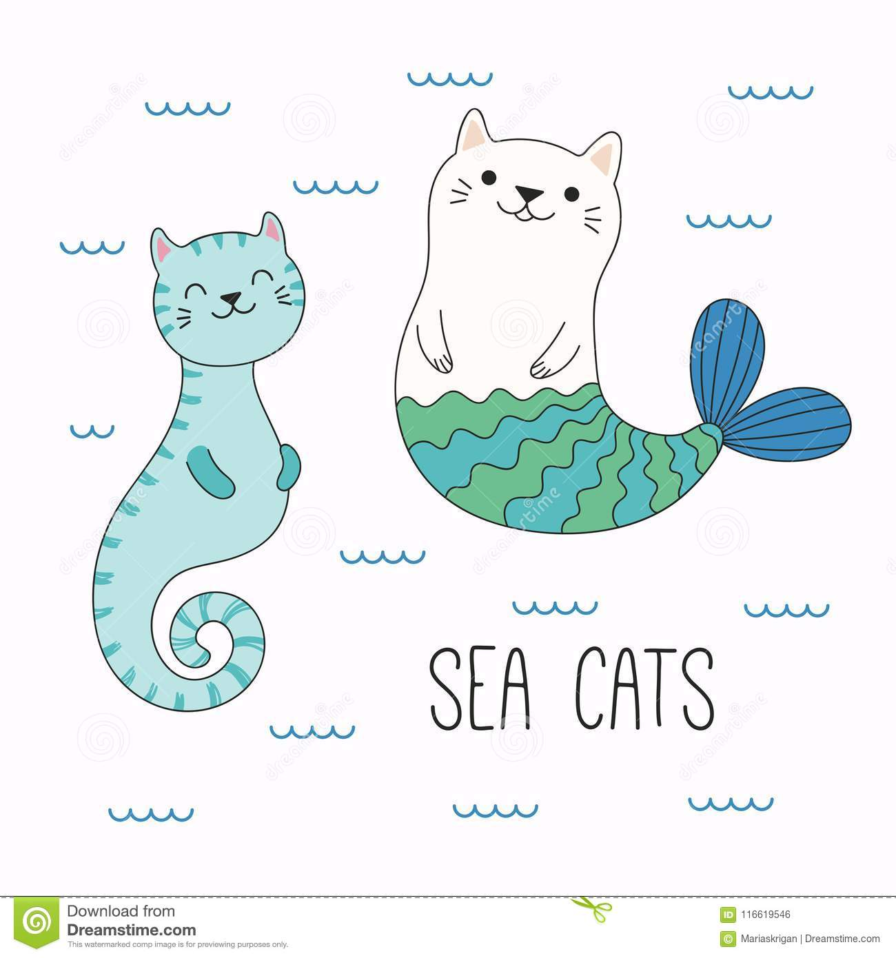 cute sea animals with cat ears stock vector illustration of design