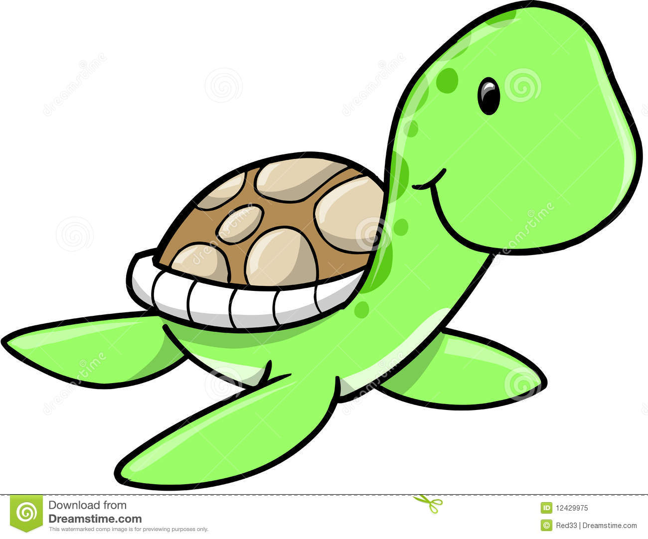 Cute Sea Turtle stock vector. Illustration of spots, swim ...