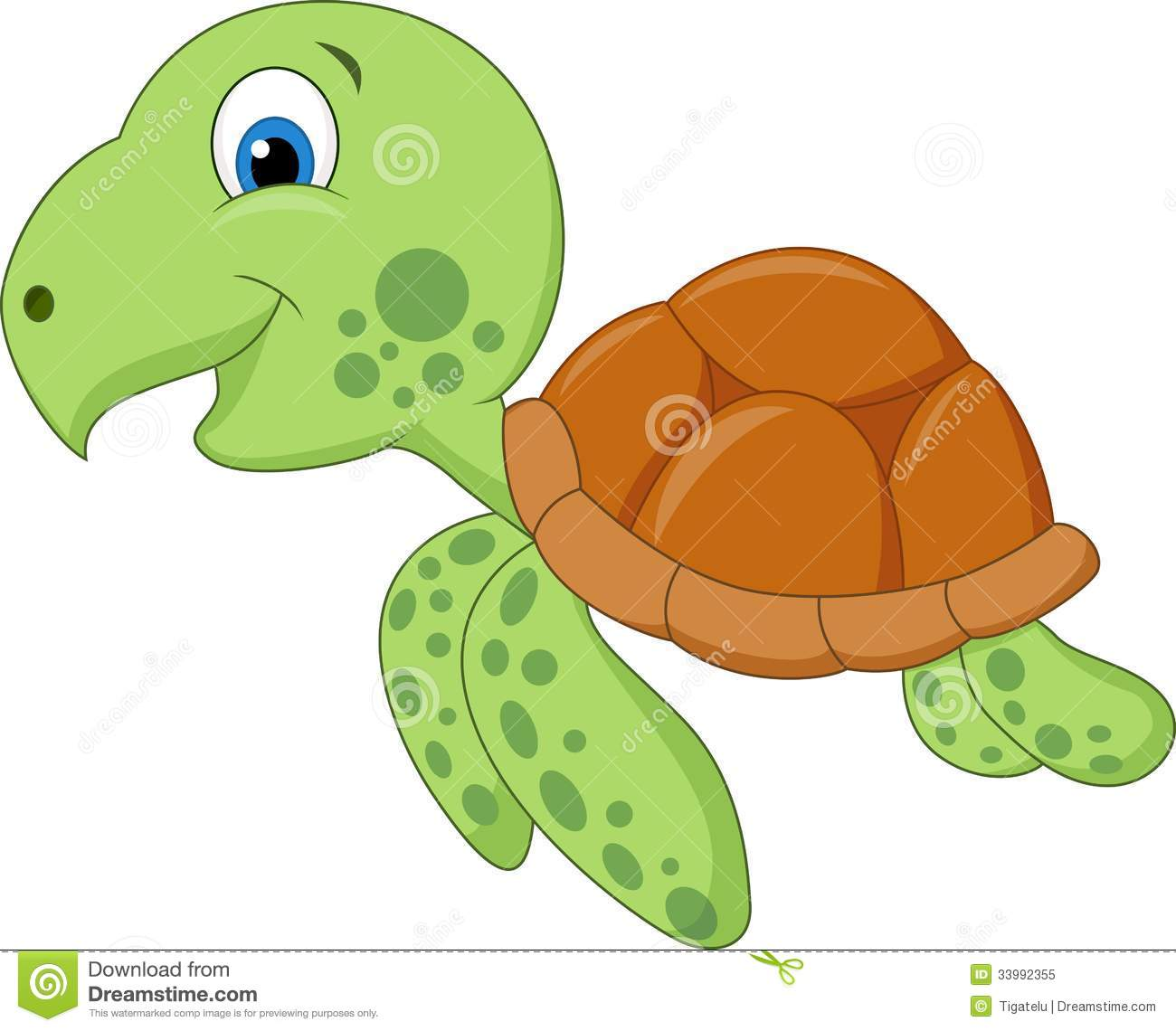 Cute Sea Turtle Cartoon Stock Vector Illustration Of Picture