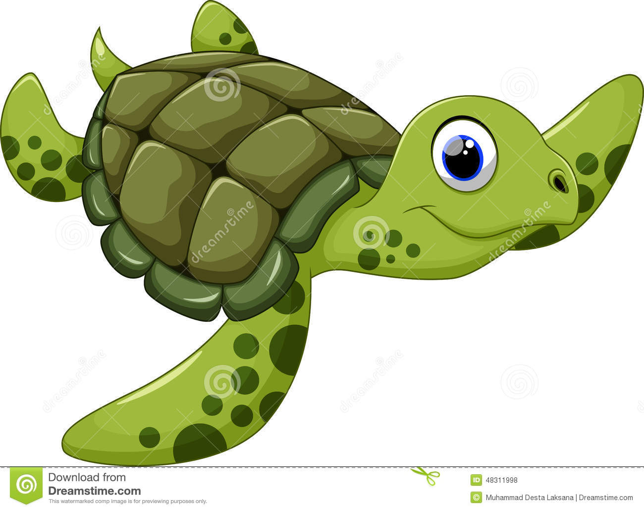 Cute Sea Turtle Cartoon Stock Illustration. Image Of