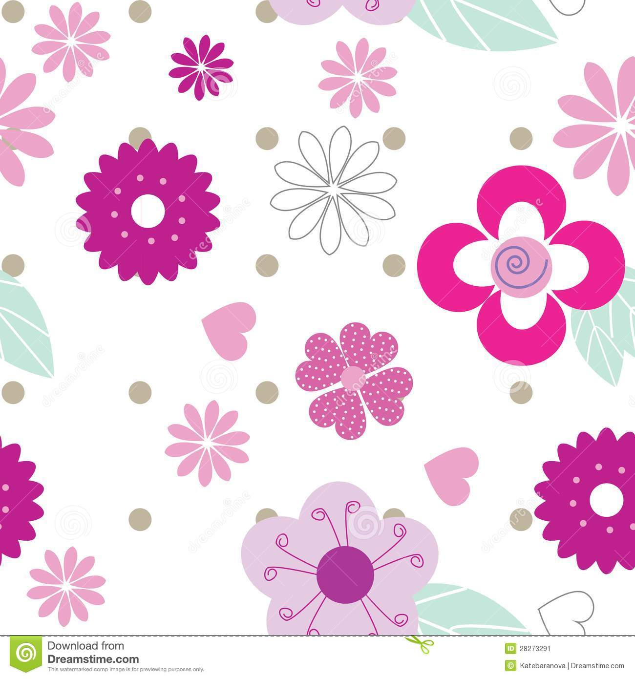Cute Seamless Background Pattern With Pink Flowers Stock Vector