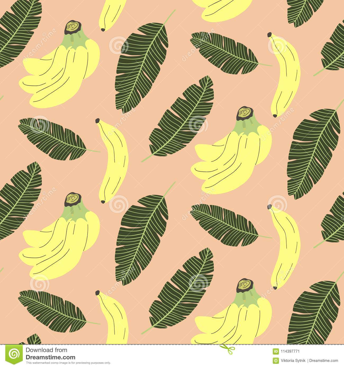 Cute Seamless Pattern With Banana And Tropical Leaves Stock