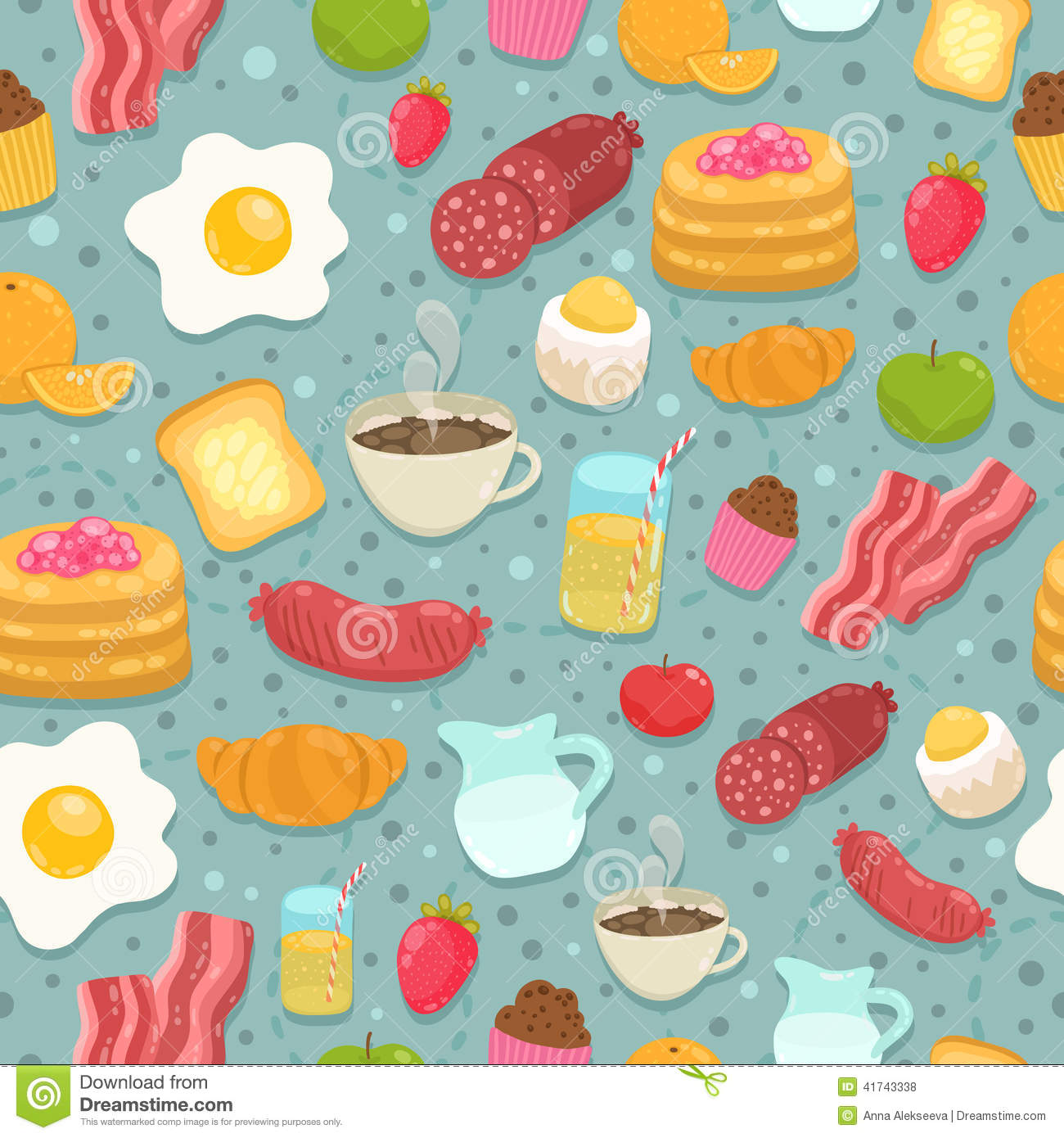Cute Seamless Pattern With Breakfast Food Stock Vector ...
