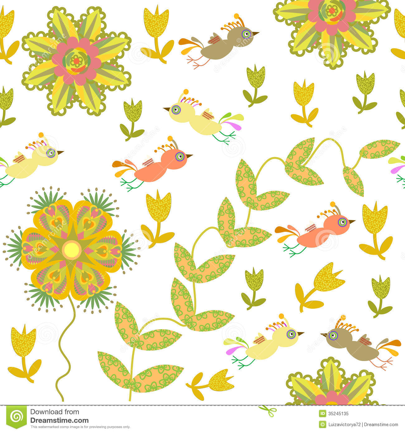 Cute Seamless Pattern With Cartoon Bird And Flower Royalty