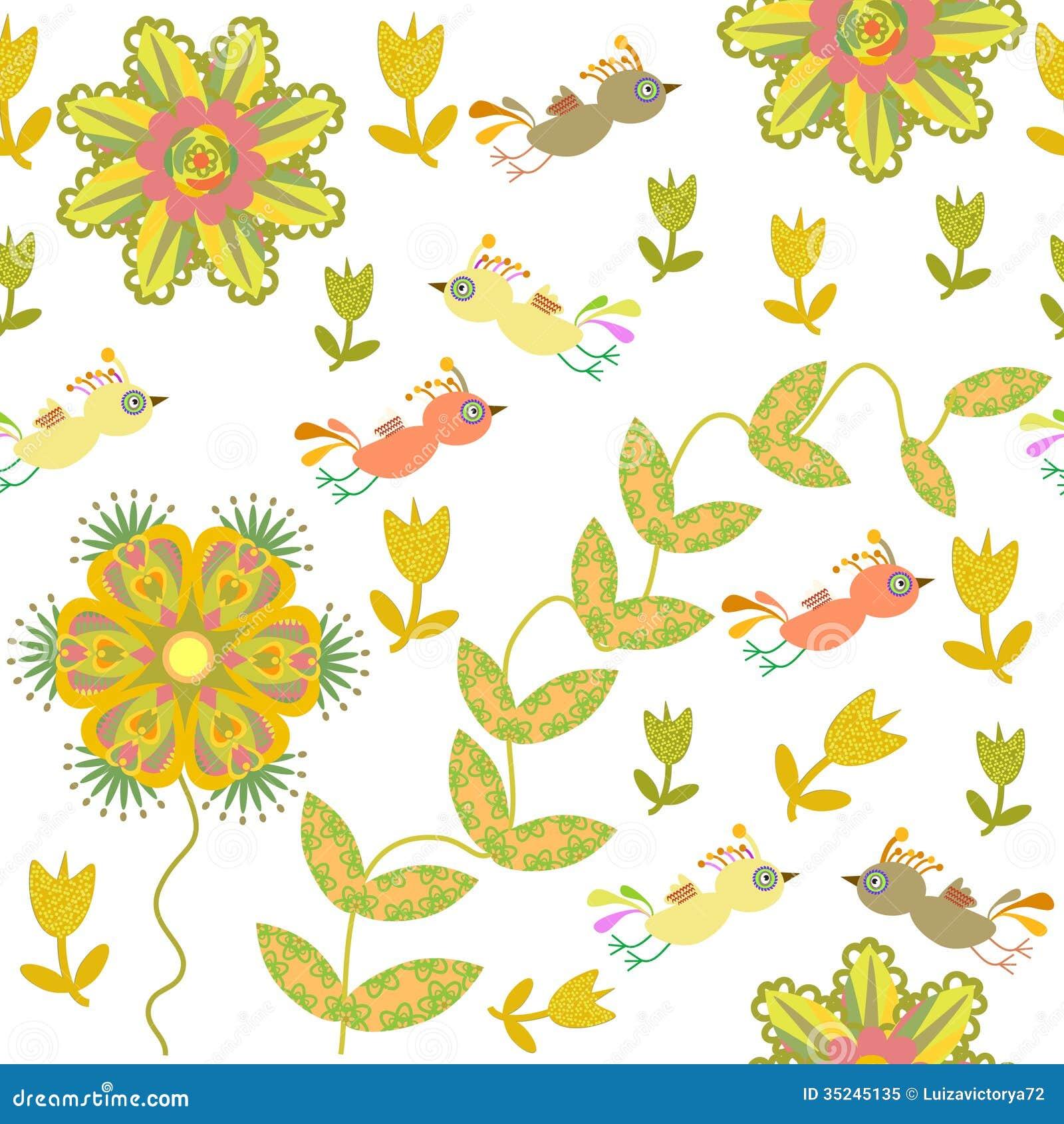 Cute Seamless Pattern With Cartoon Bird And Flower Stock ...