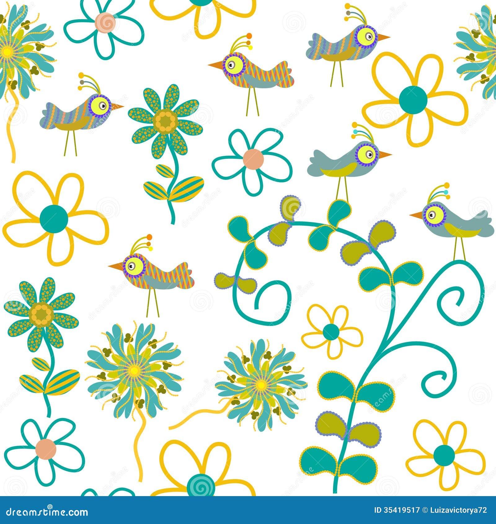 Cute Vector Seamless Pattern With Cartoon Bird An Stock