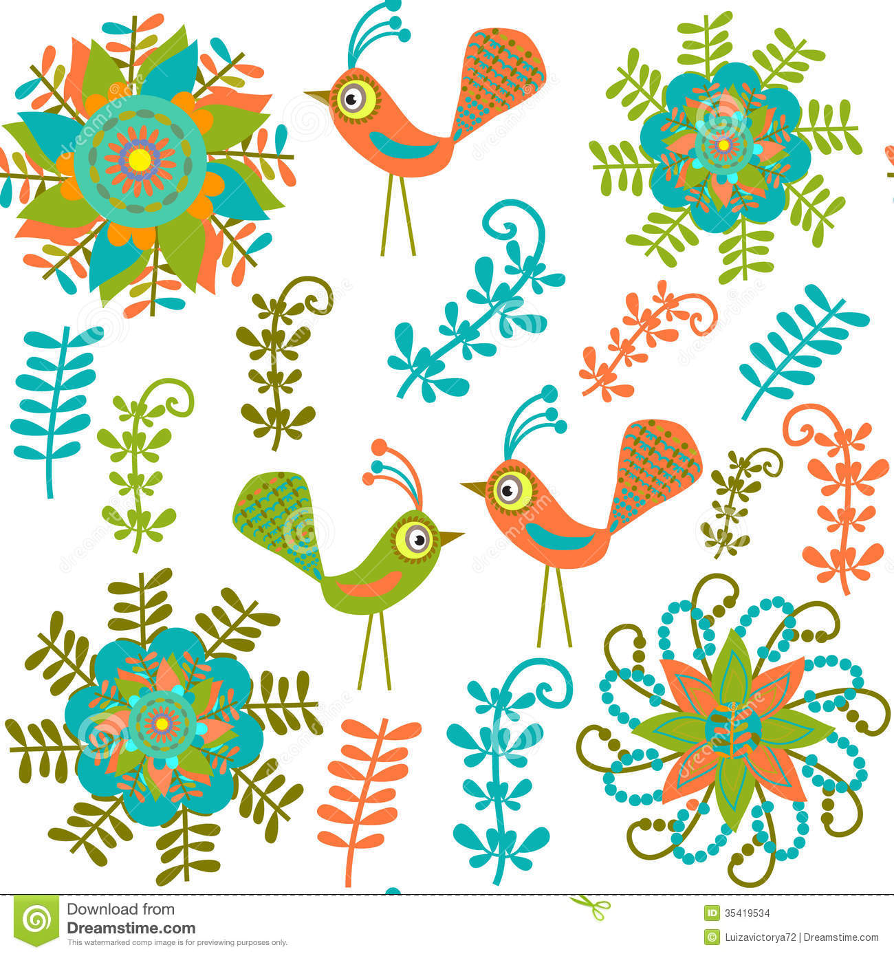 Cute Vector Seamless Pattern With Cartoon Bird And Stock