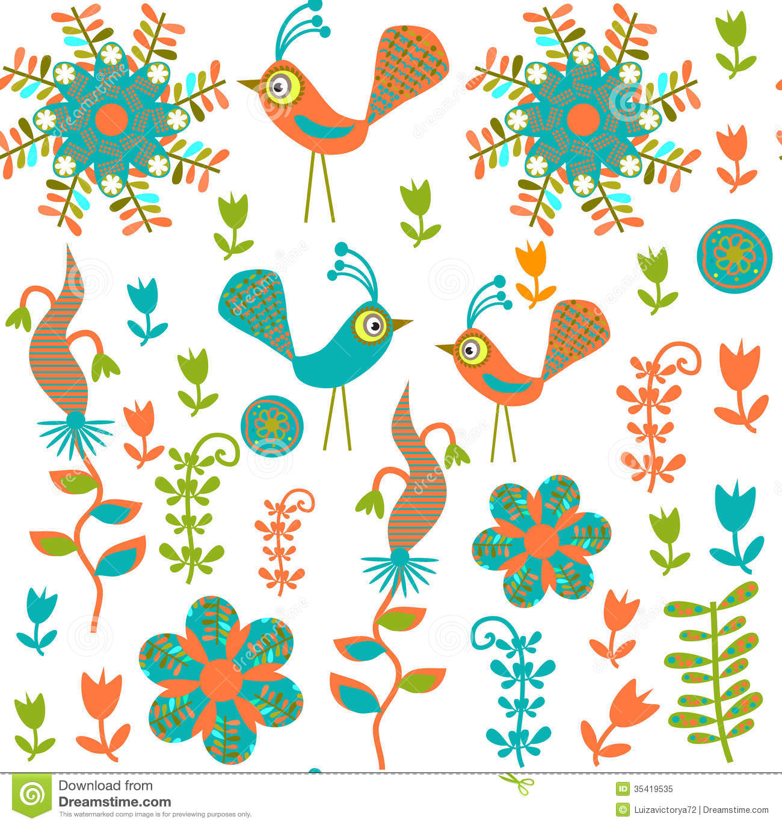 Cute Seamless Pattern With Cartoon Bird And Flower Stock