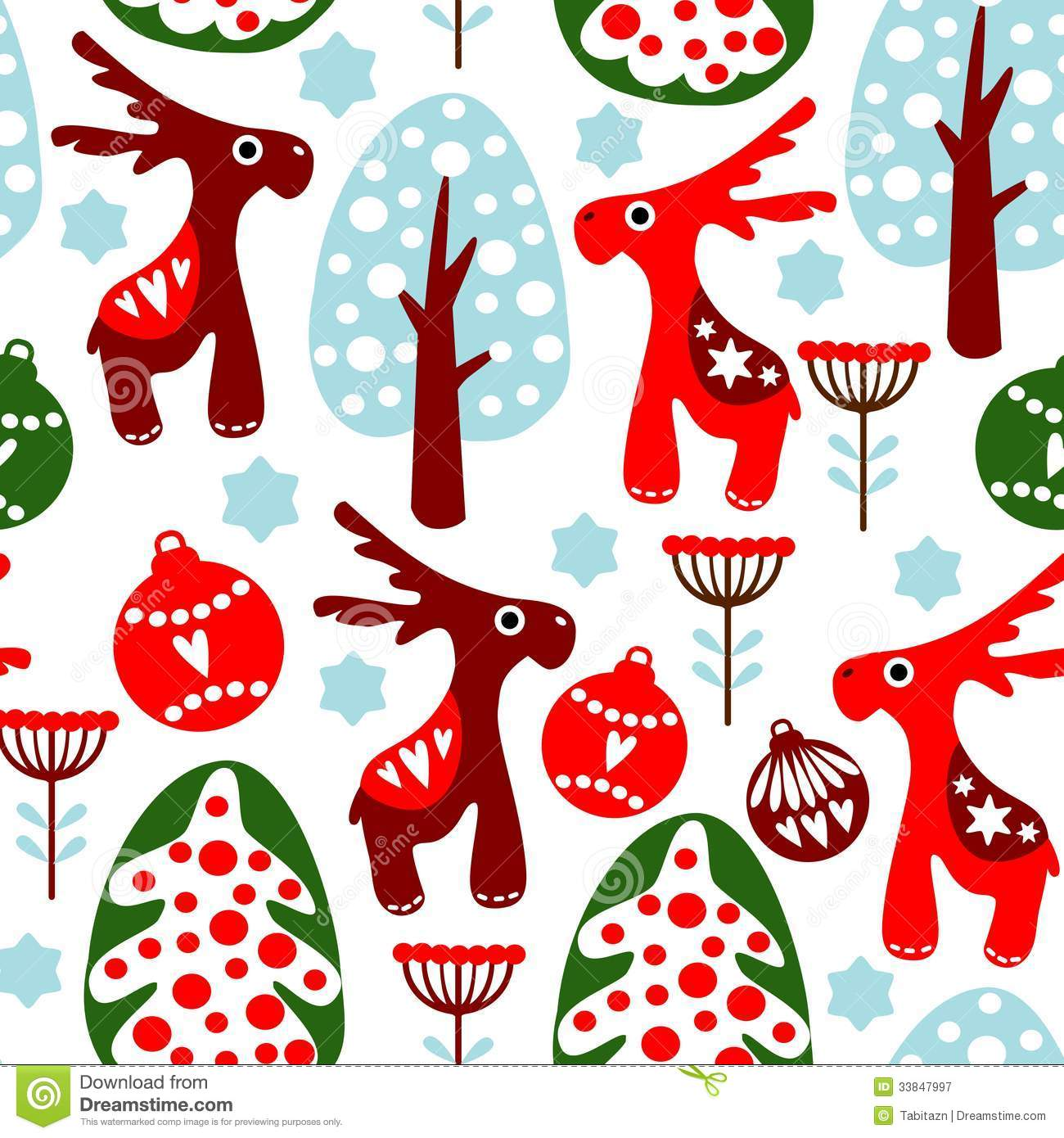 Retro christmas decorations - Cute Seamless Pattern With Christmas Balls Reind Royalty