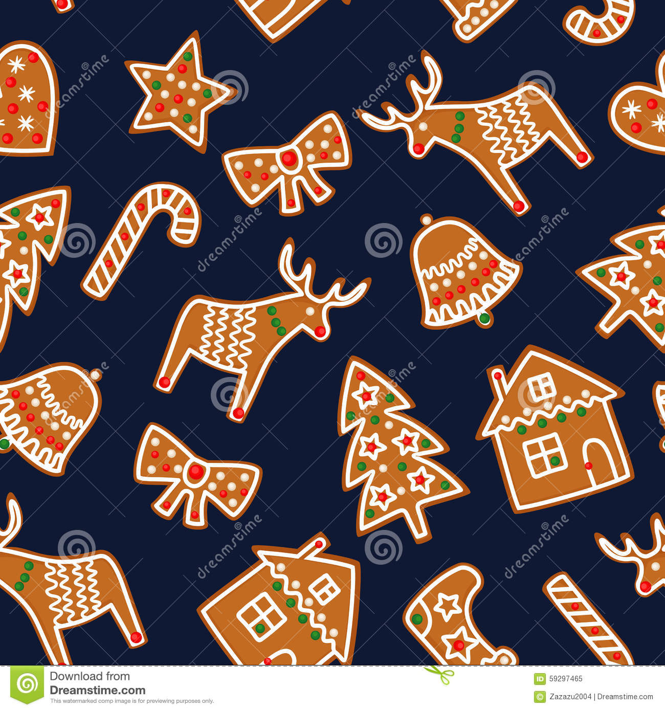 Cute Seamless pattern with Christmas gingerbread cookies - xmas tree, candy cane, bell, sock, star, house, bow, heart, deer. Cute