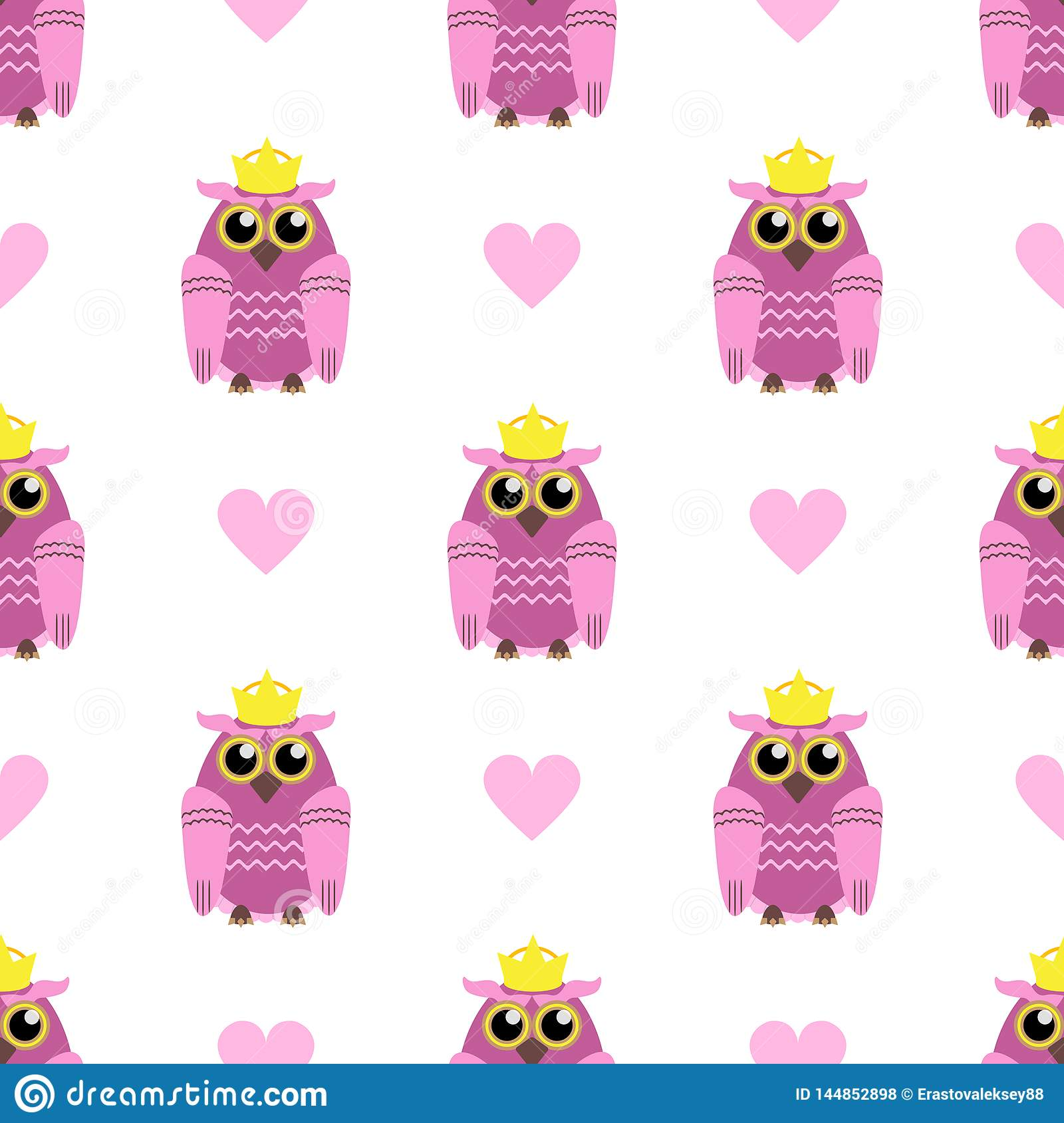Cute seamless pattern with hearts and owls with crowns. Vector illustration.
