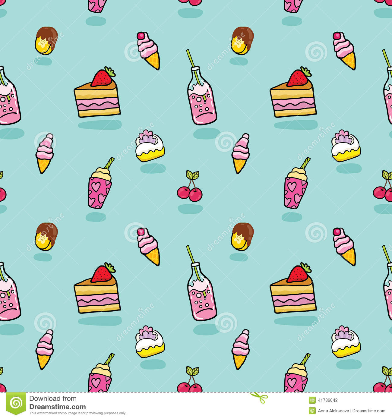 Pattern Cute Colorful Ice Cream Textiles Stock Vector: Cute Seamless Pattern With Ice Cream, Soda, Cake Stock