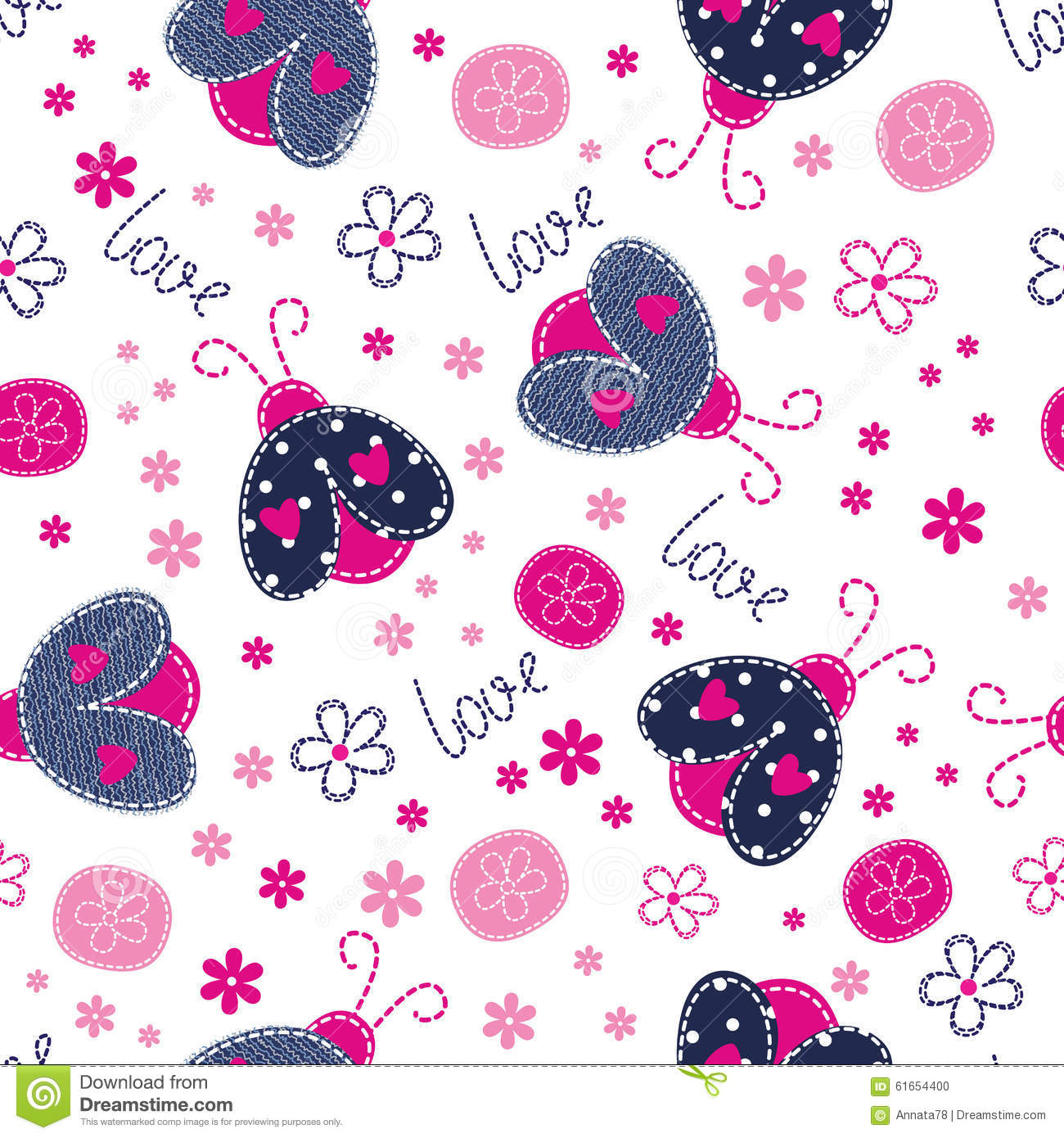 cute ladybugs and flowers