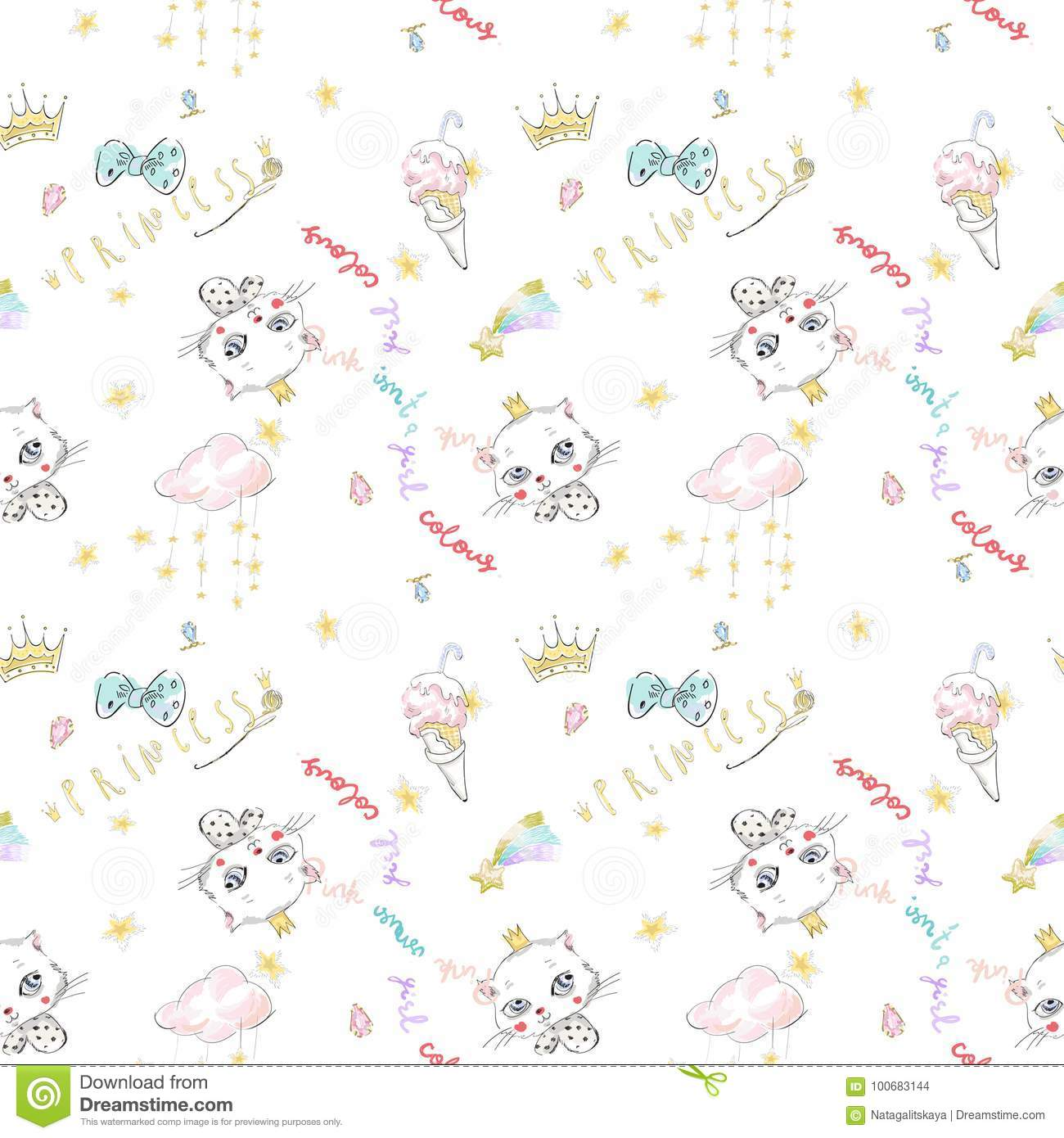 Cute Seamless Pattern With Princess Cat Crowns And Ice Cream Stock