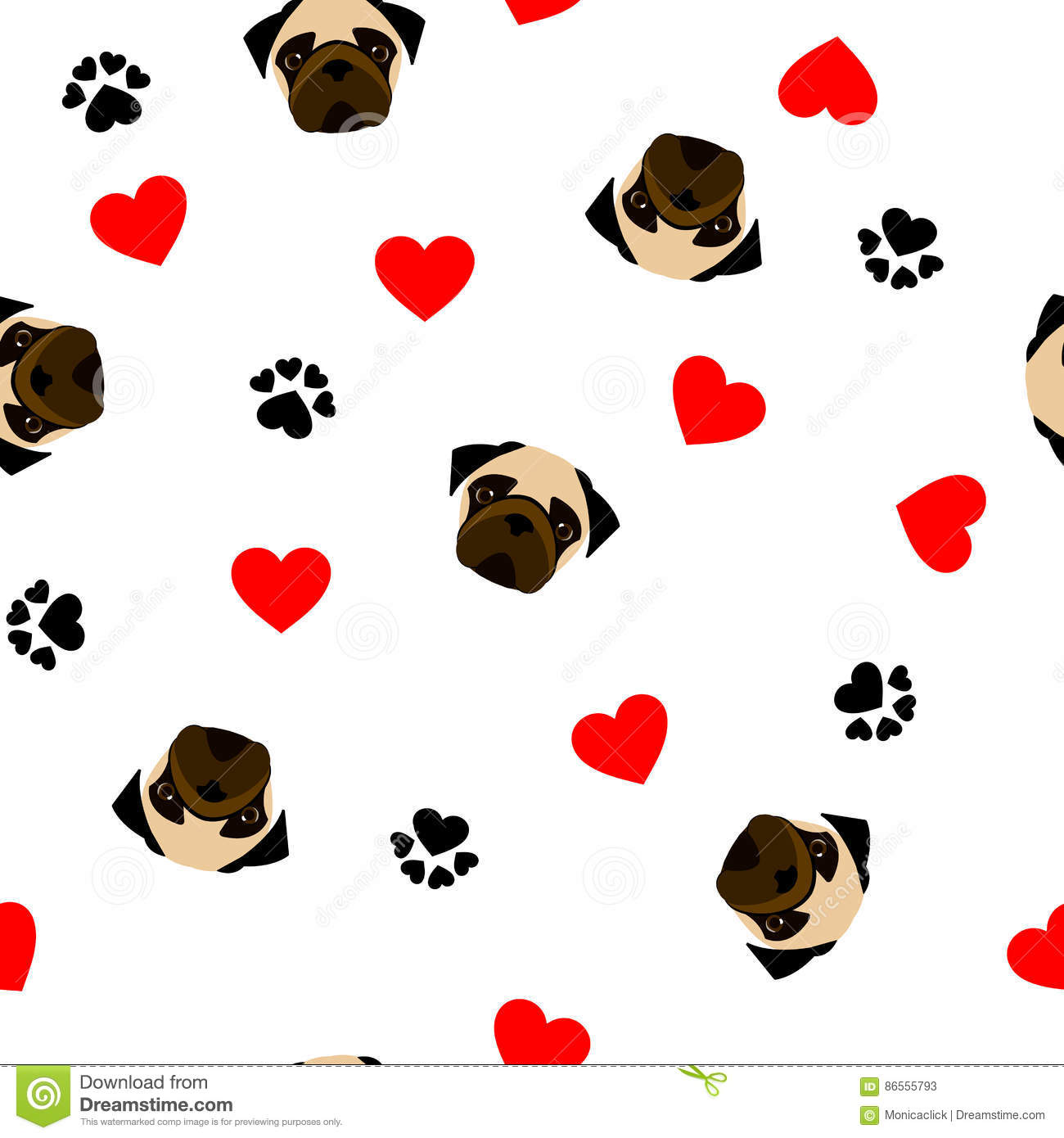 Cute Seamless Pattern With Pug Dog, Paw Print And Red Heart