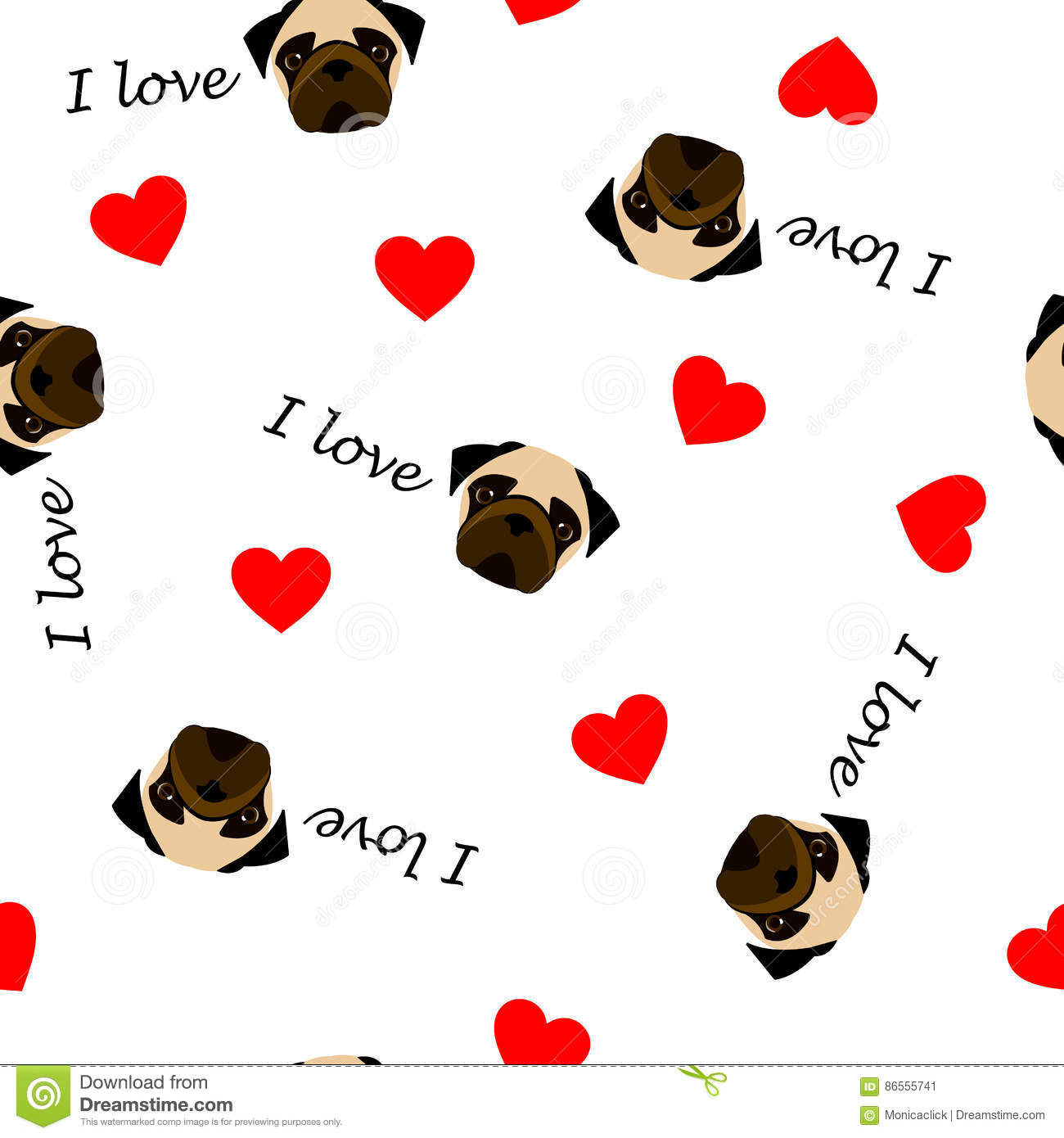 Cute seamless pattern with pug dog, text I love and red heart, transparent background