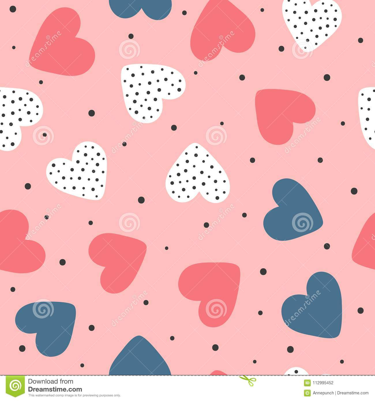 Cute seamless pattern with repeating hearts and round dots. Romantic endless print. Drawn by hand.