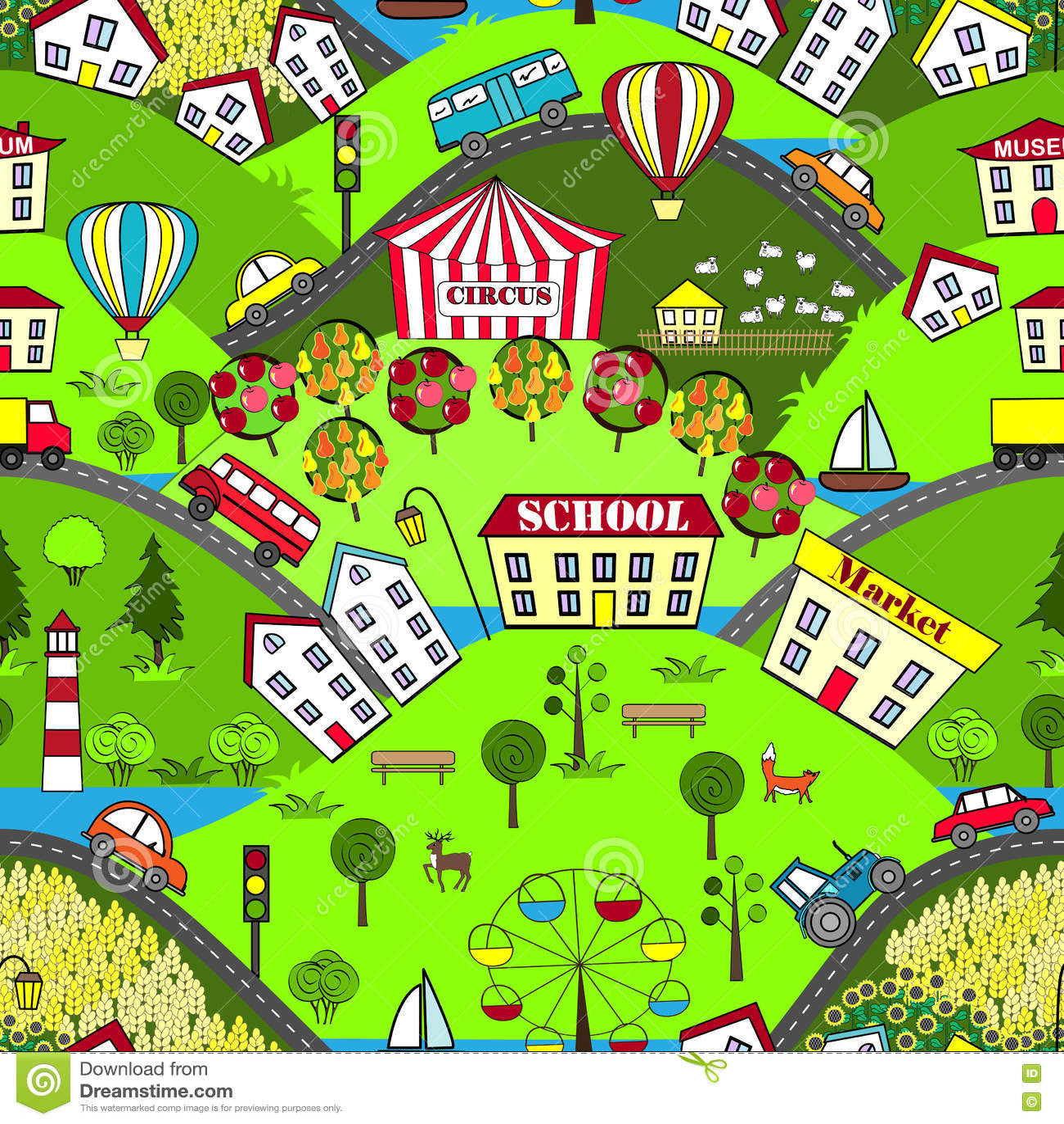 cartoon map seamless pattern of summer city cartoon spring season clip art images spring season clipart