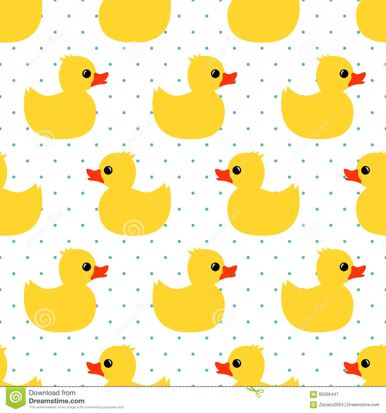 Cute Seamless Pattern With Yellow Rubber Duck On Polka