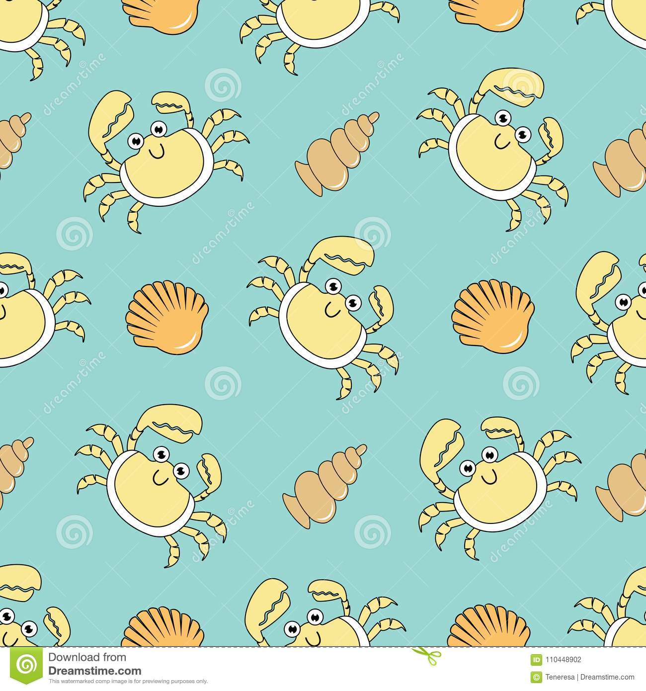 Animated Pictures Of Seashells cute seamless patterns with crab and shells stock vector