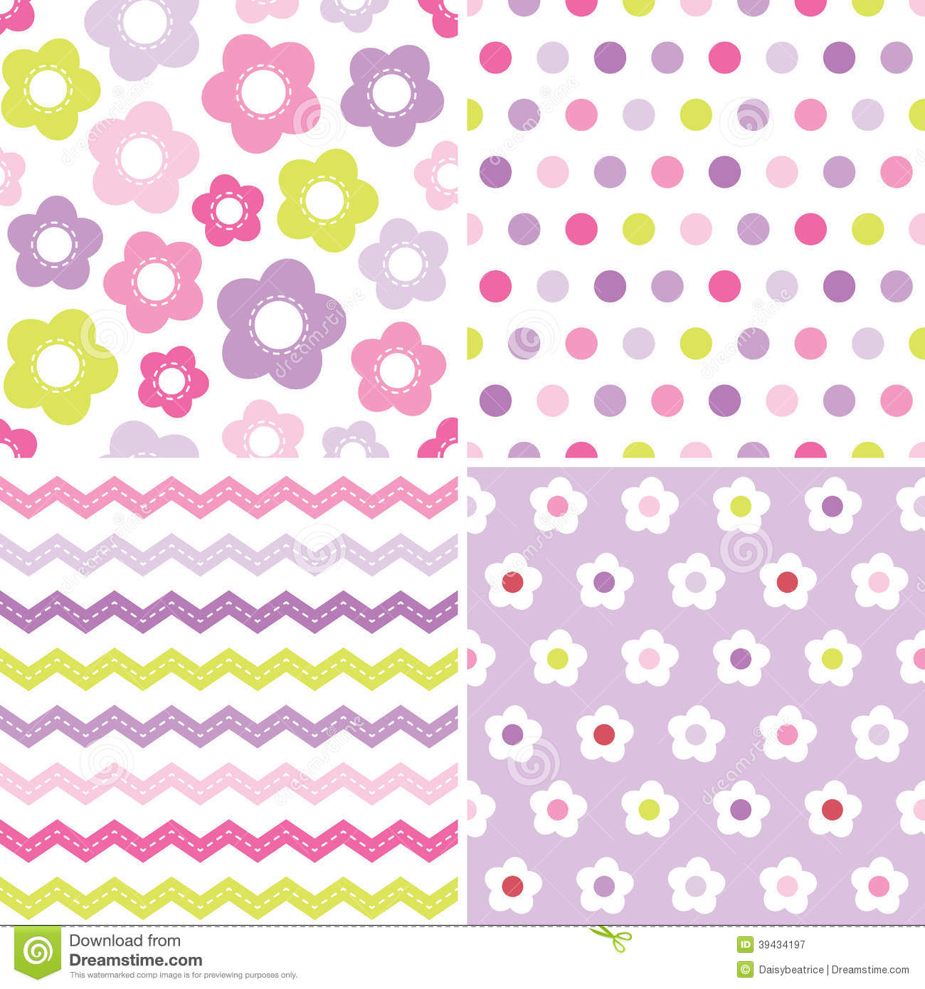 cute seamless pink and purple background patterns stock