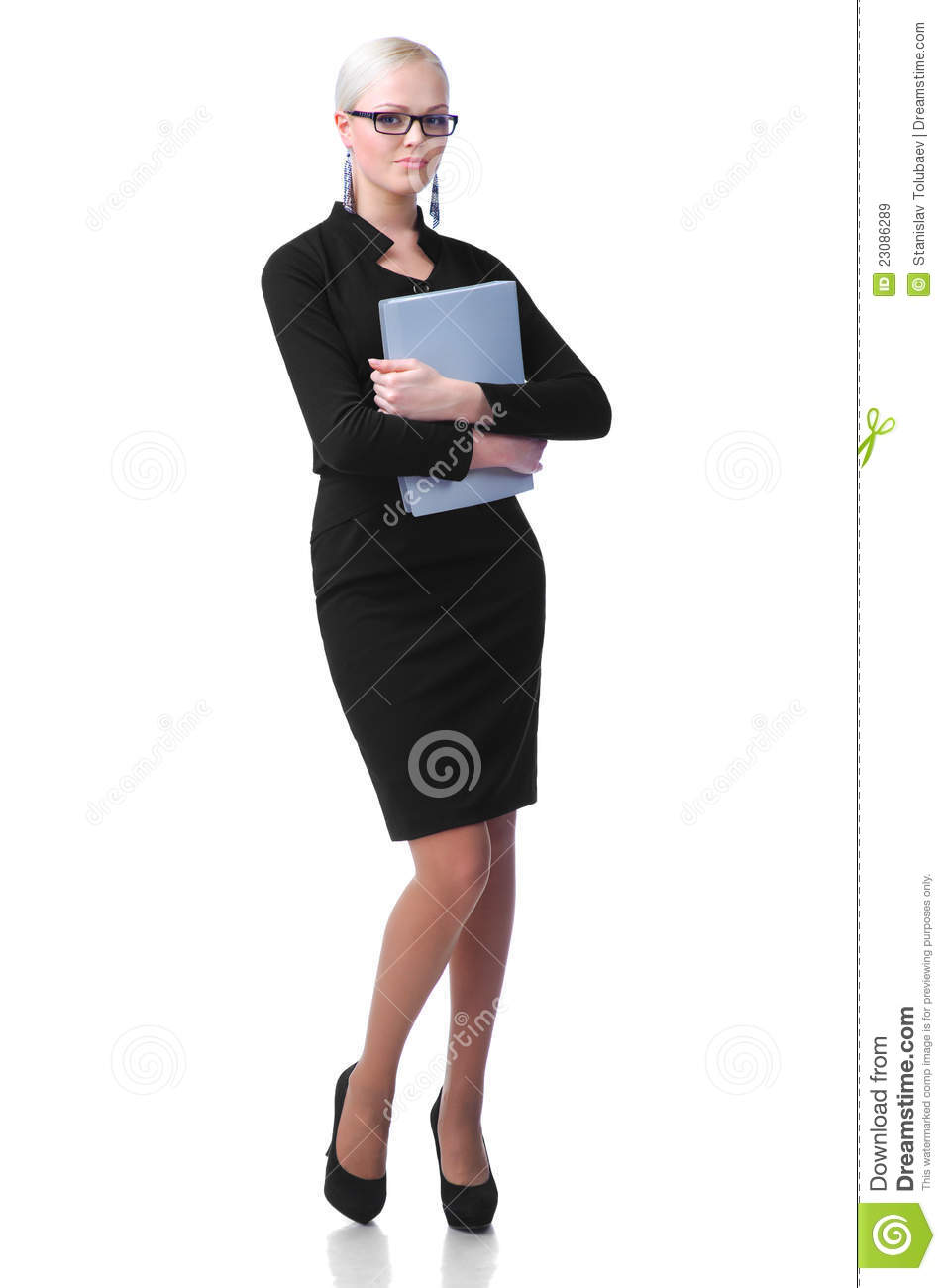 Cute Secretary With Paper Folder Royalty Free Stock Images