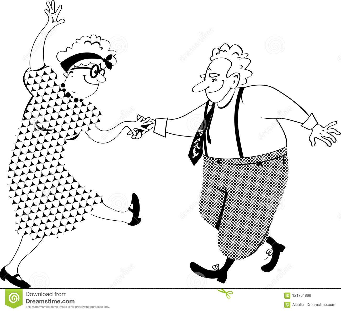 Image of: Whisper Cute Senior Citizens Couple Dancing Eps Vector Line Illustration No White Objects Dreamstimecom Dancing Old People Clipart Stock Vector Illustration Of