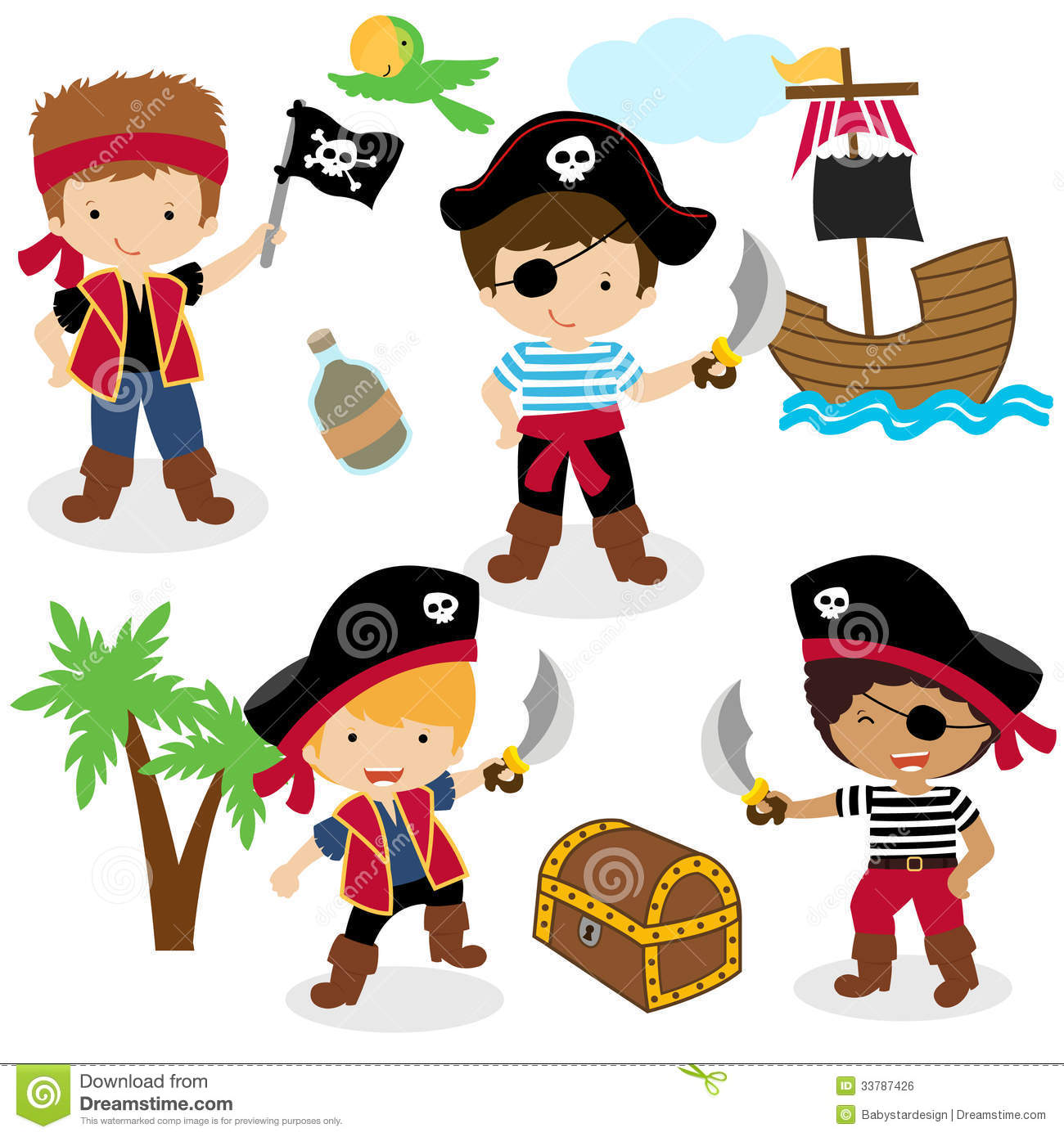 Four cartoon pirate kids with a treasure box, isolated on white ...
