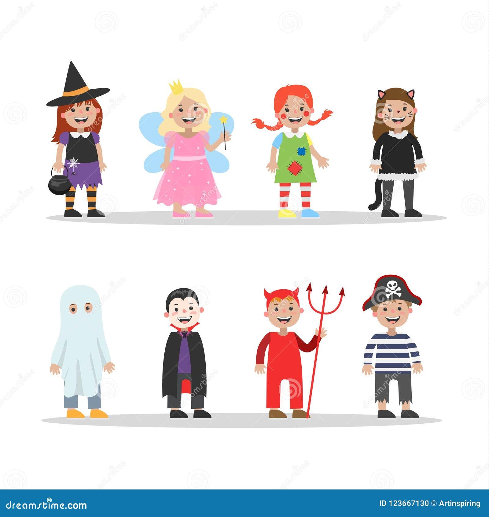 cute set of halloween costumes for children stock vector