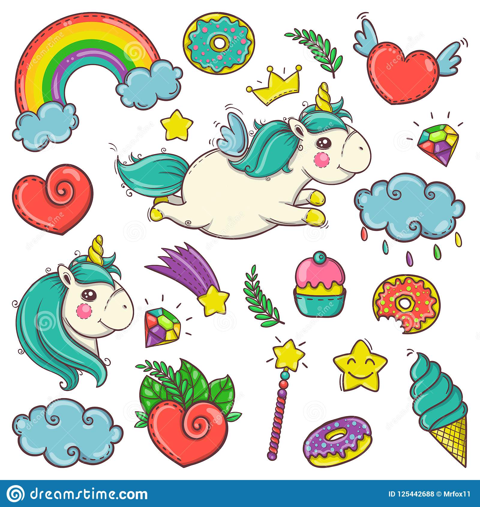 cute set of magical elements with unicorns candies and treasures