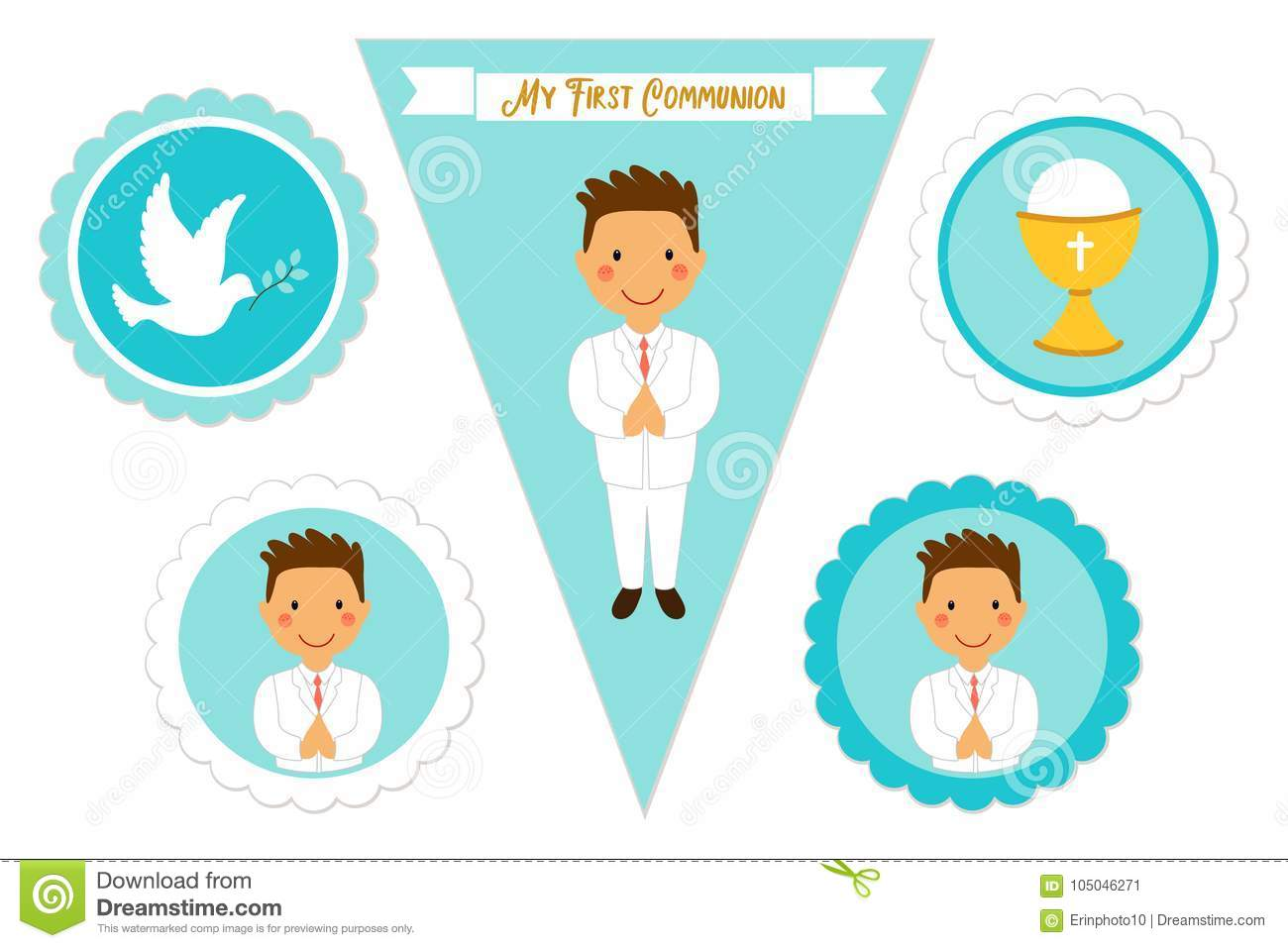 Cute Set Of Printable Elements For First Communion For Boys Stock ...
