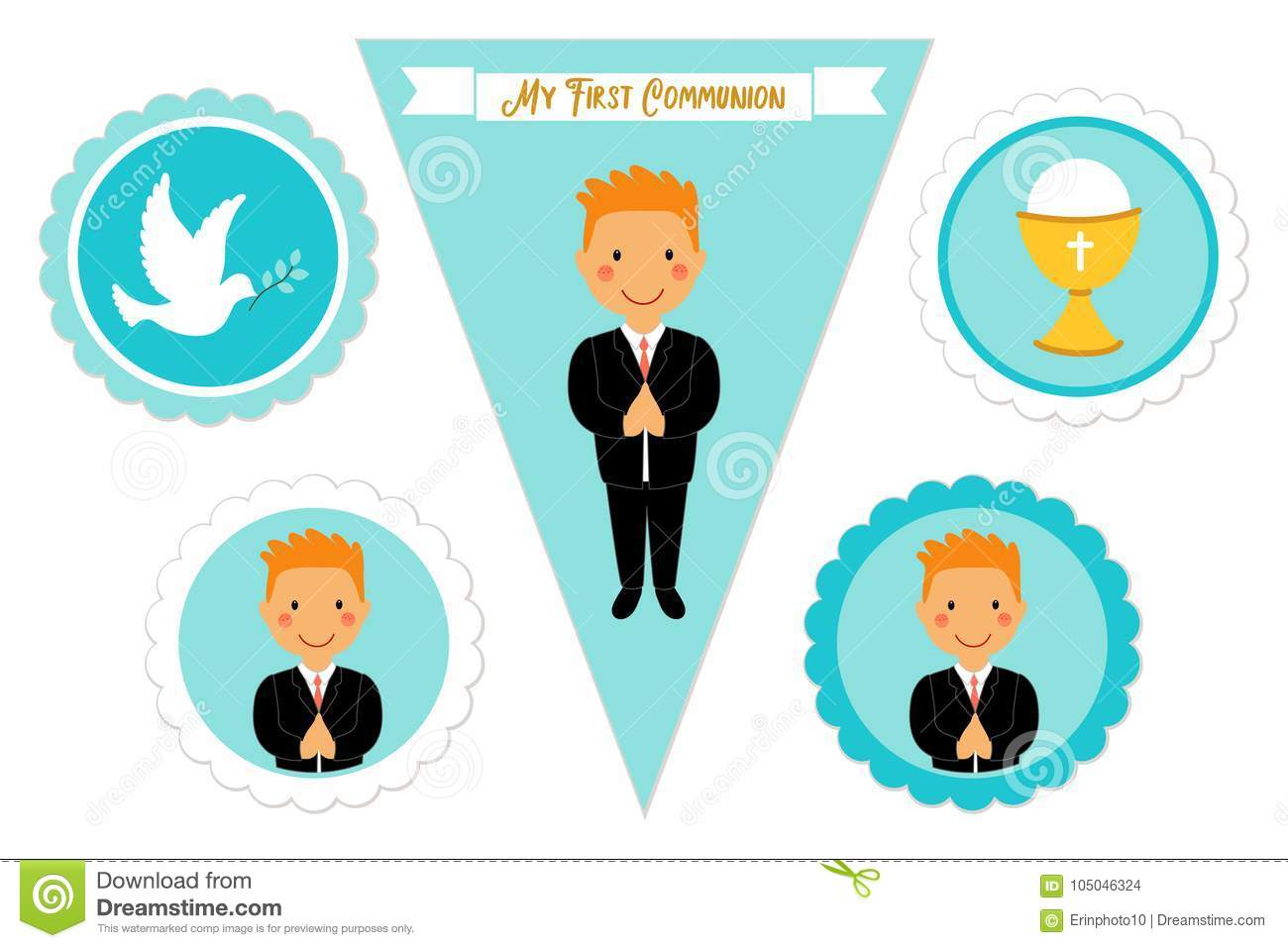 cute set of printable elements for first communion for boys stock