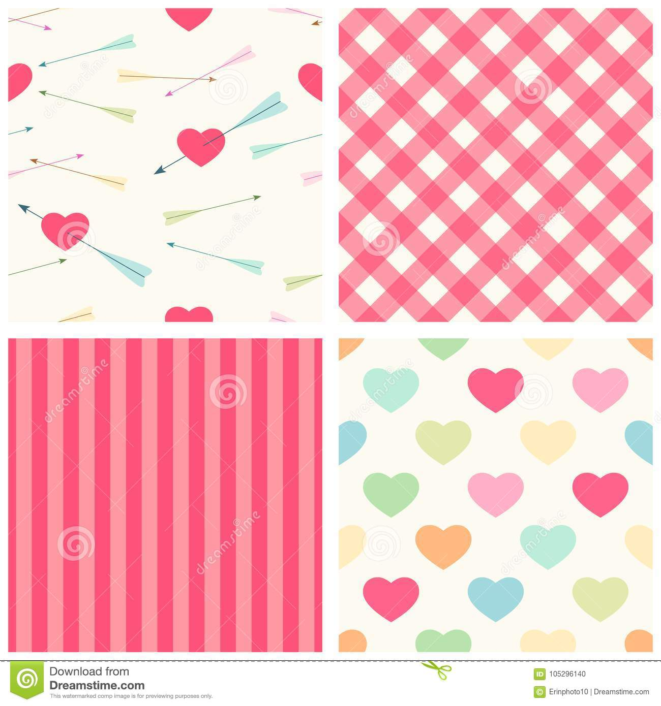 Cute set of Valentine`s Day seamless patterns in retro style with hearts and arrows