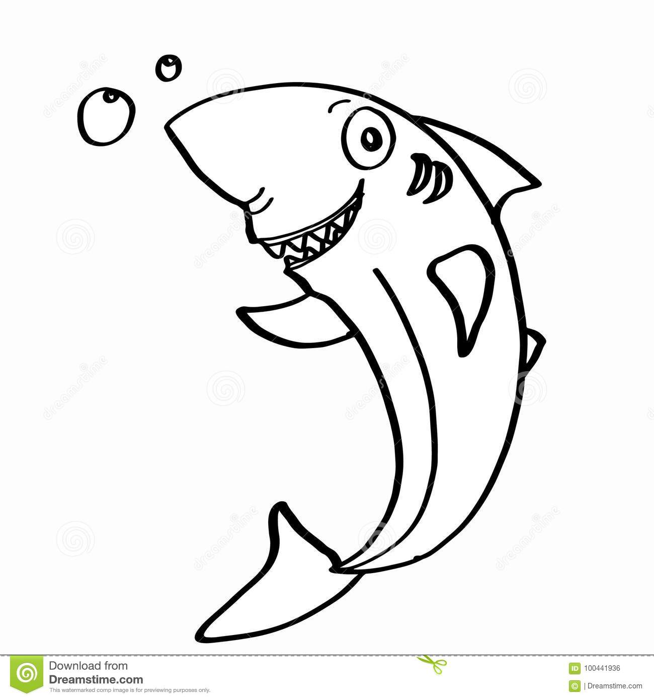 Cute shark coloring stock vector. Illustration of smile - 100441936