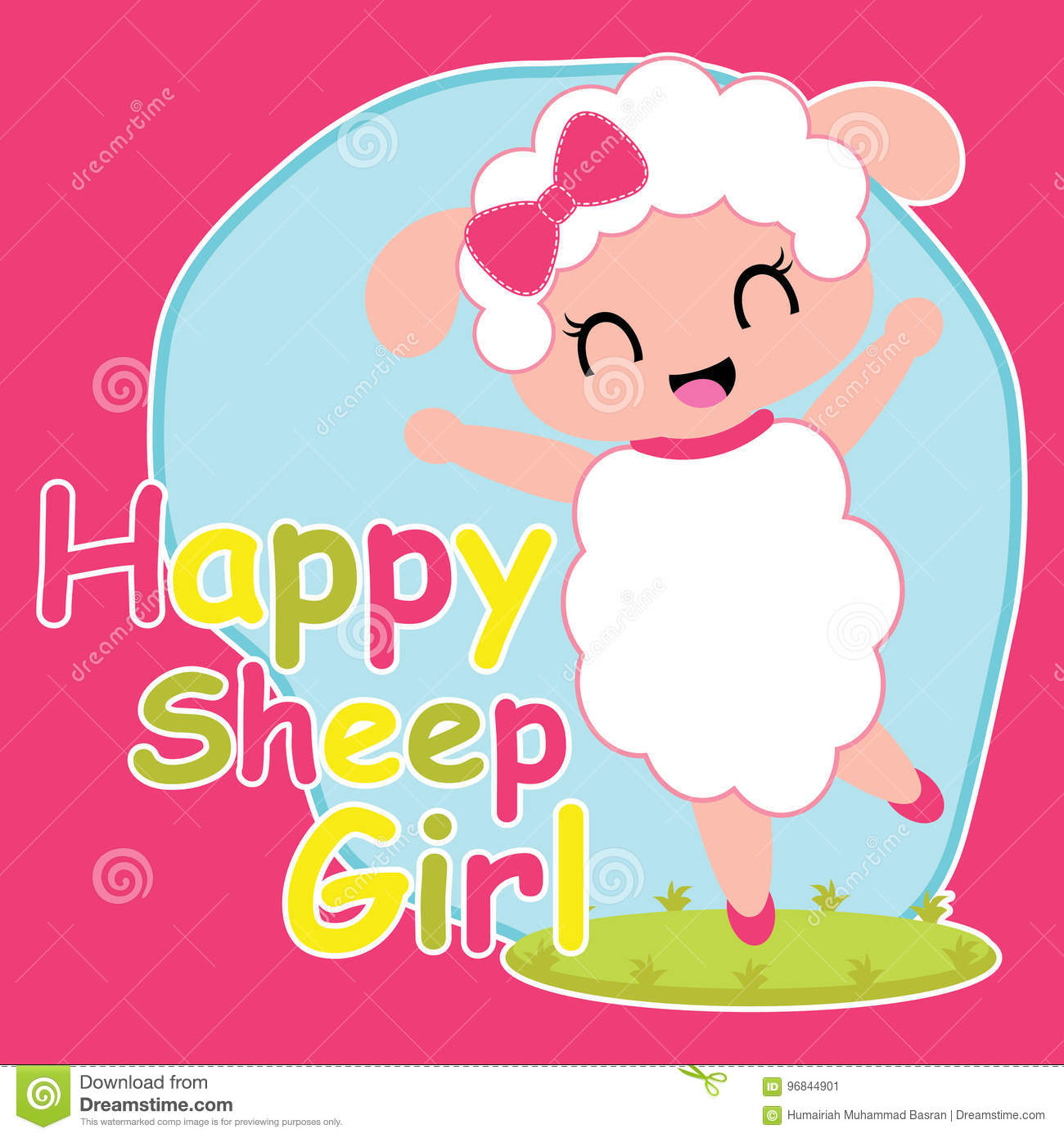 4fd89335 Cute Sheep Girl Is Happy Cartoon Illustration For Kid T Shirt Design ...