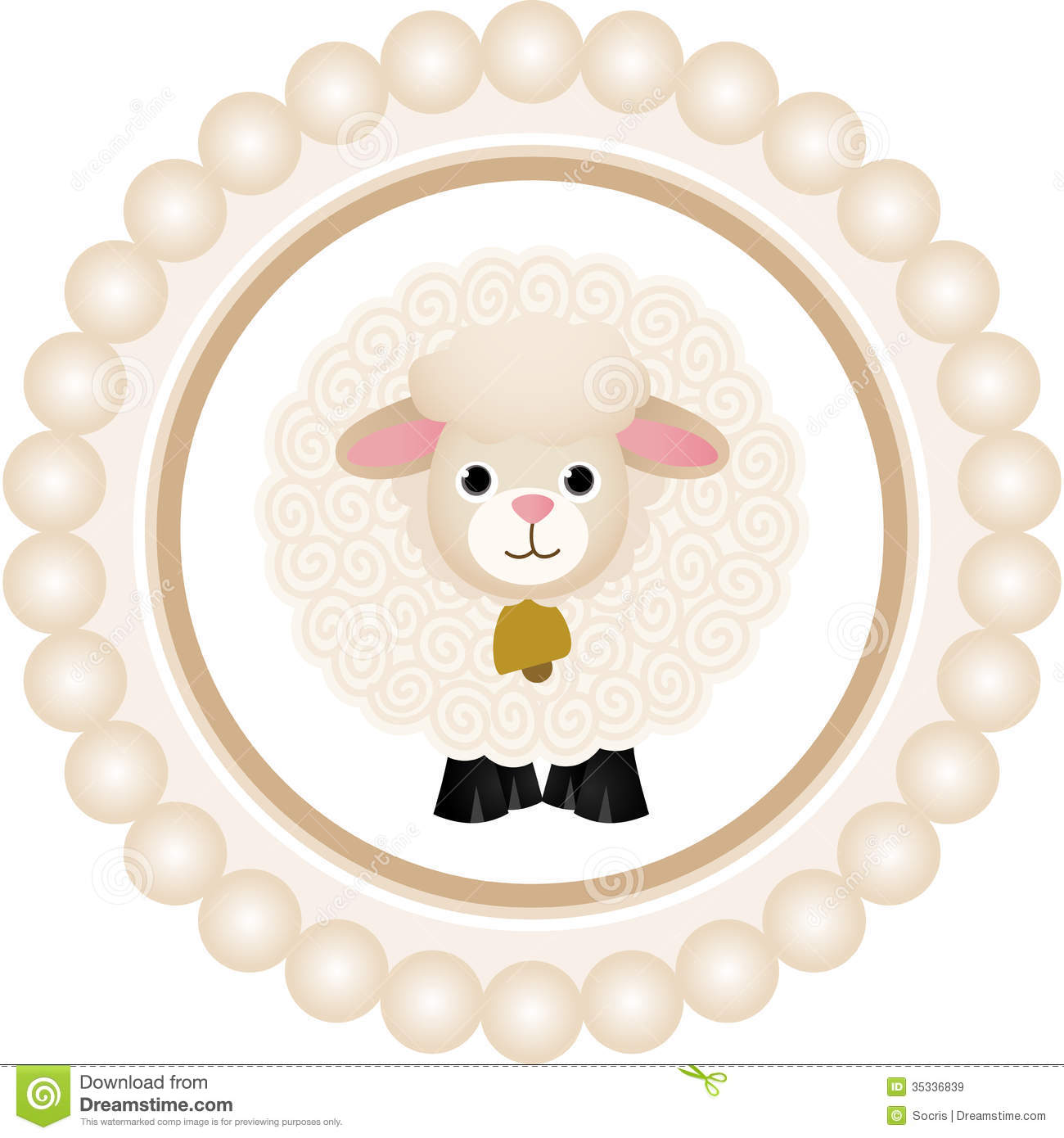 Cute Sheep Round Label Royalty Free Stock Images - Image: 35336839