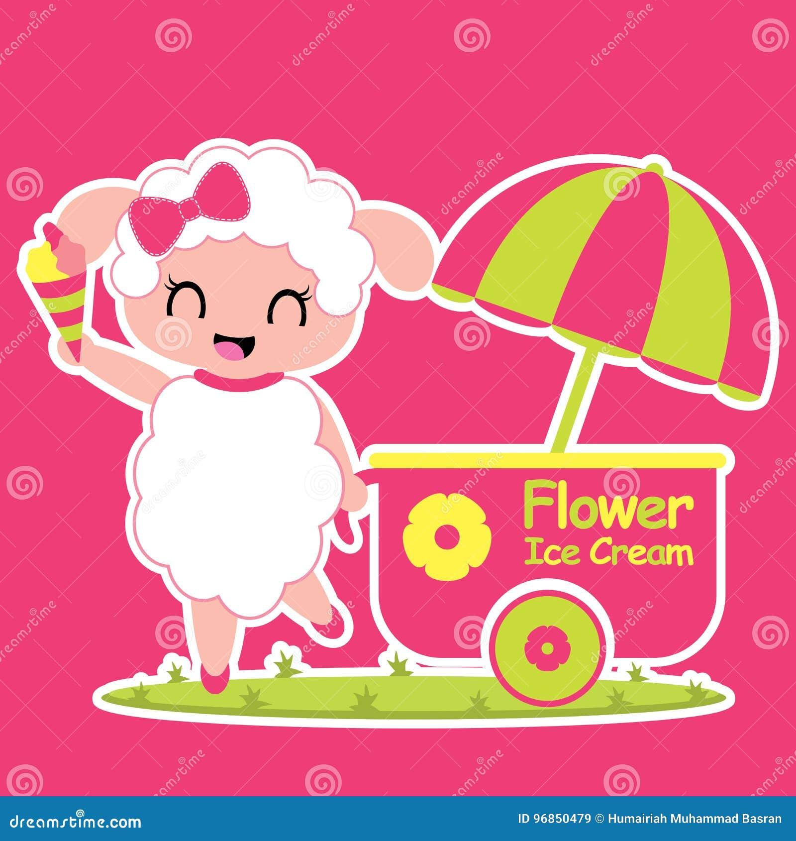 Cute sheep sells ice cream cartoon illustration for kid t shirt design, nursery wall, and wallpaper